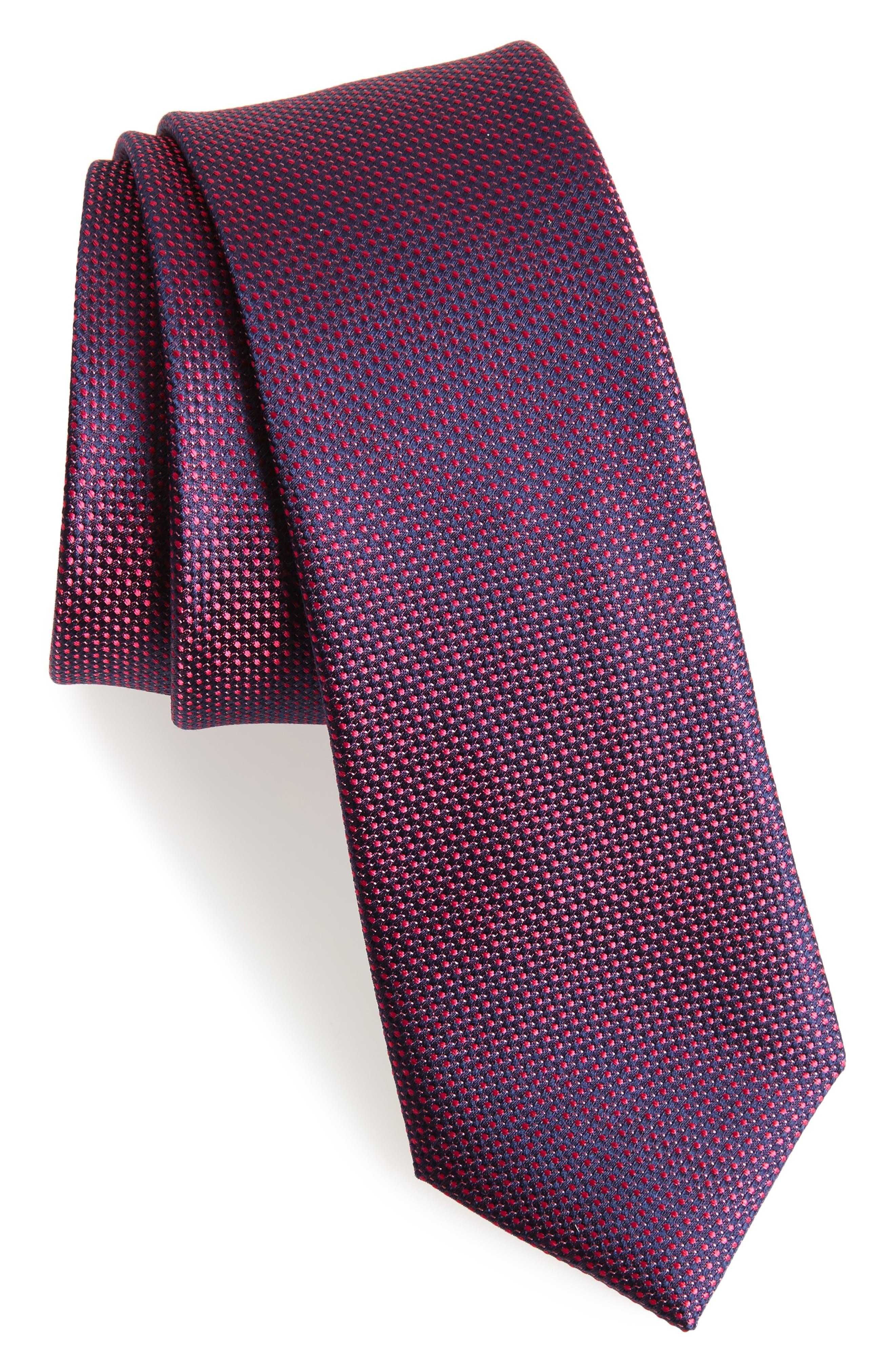 Pop Dot Silk Skinny Tie,                         Main,                         color, Pink
