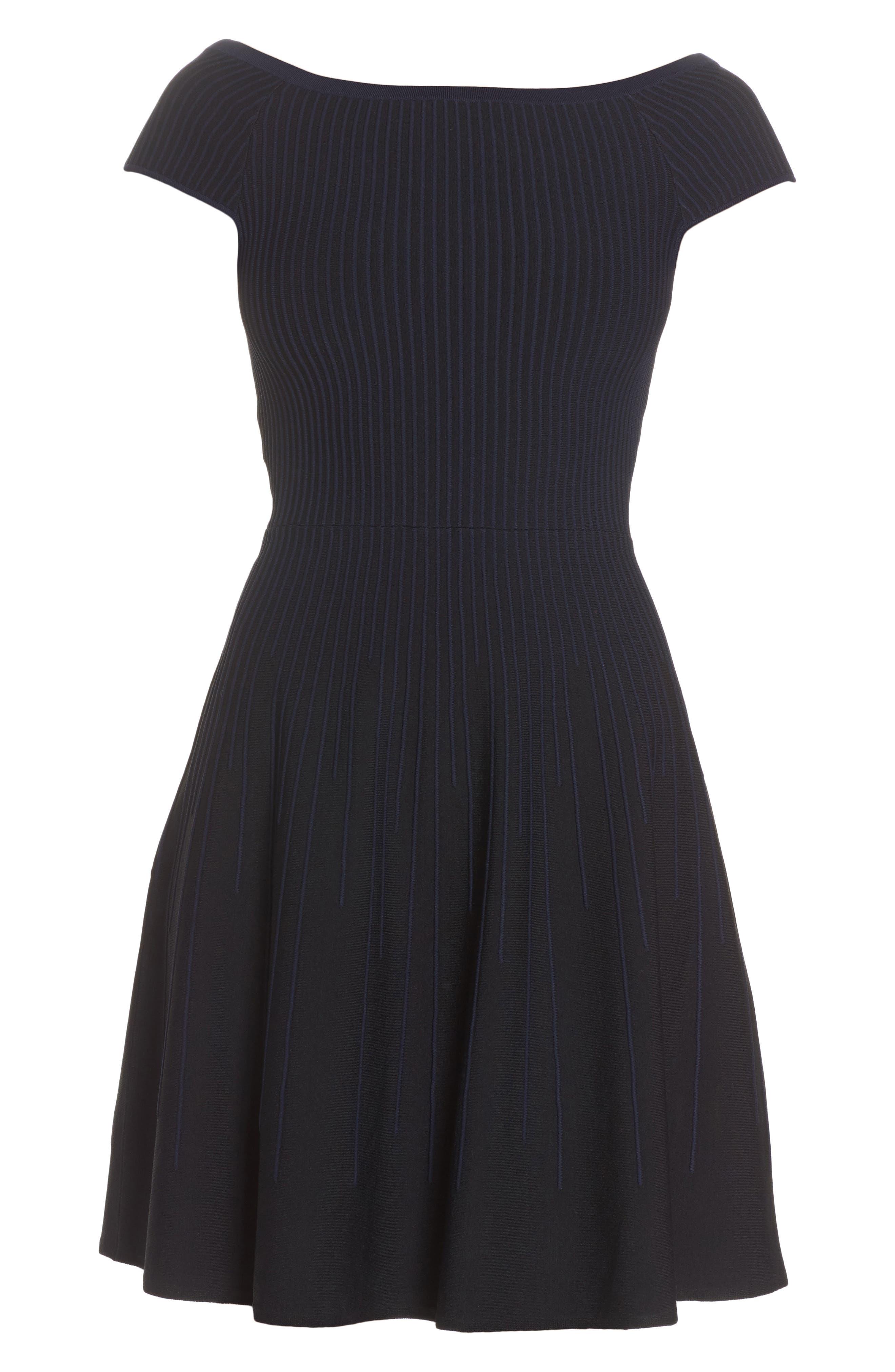 Olivia Off the Shoulder Dress,                             Alternate thumbnail 6, color,                             Black/ Nocturnal