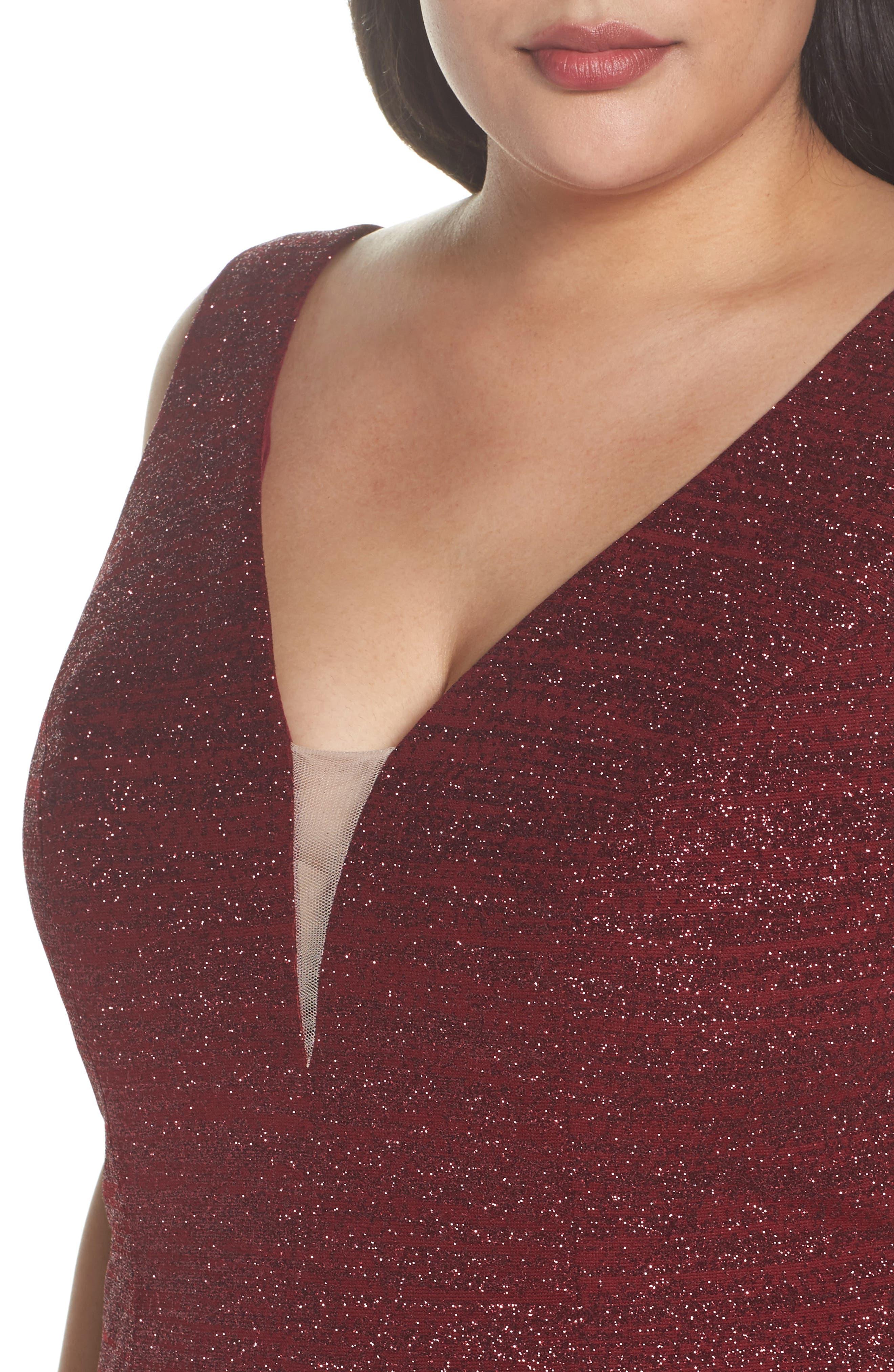 Alternate Image 4  - Xscape Metallic Knit Mermaid Gown (Plus Size)