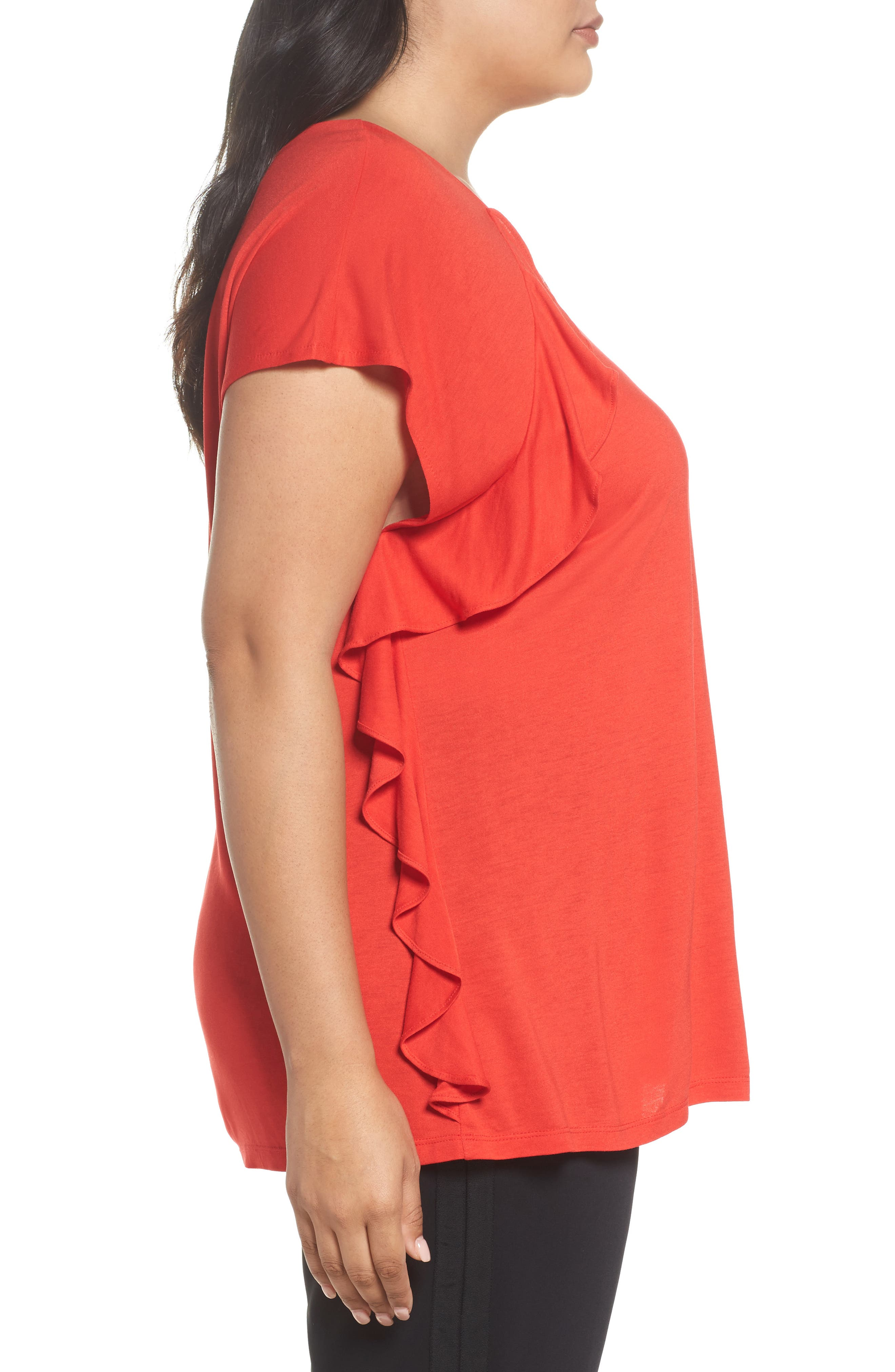 Ruffle Detail Top,                             Alternate thumbnail 3, color,                             Red Bloom