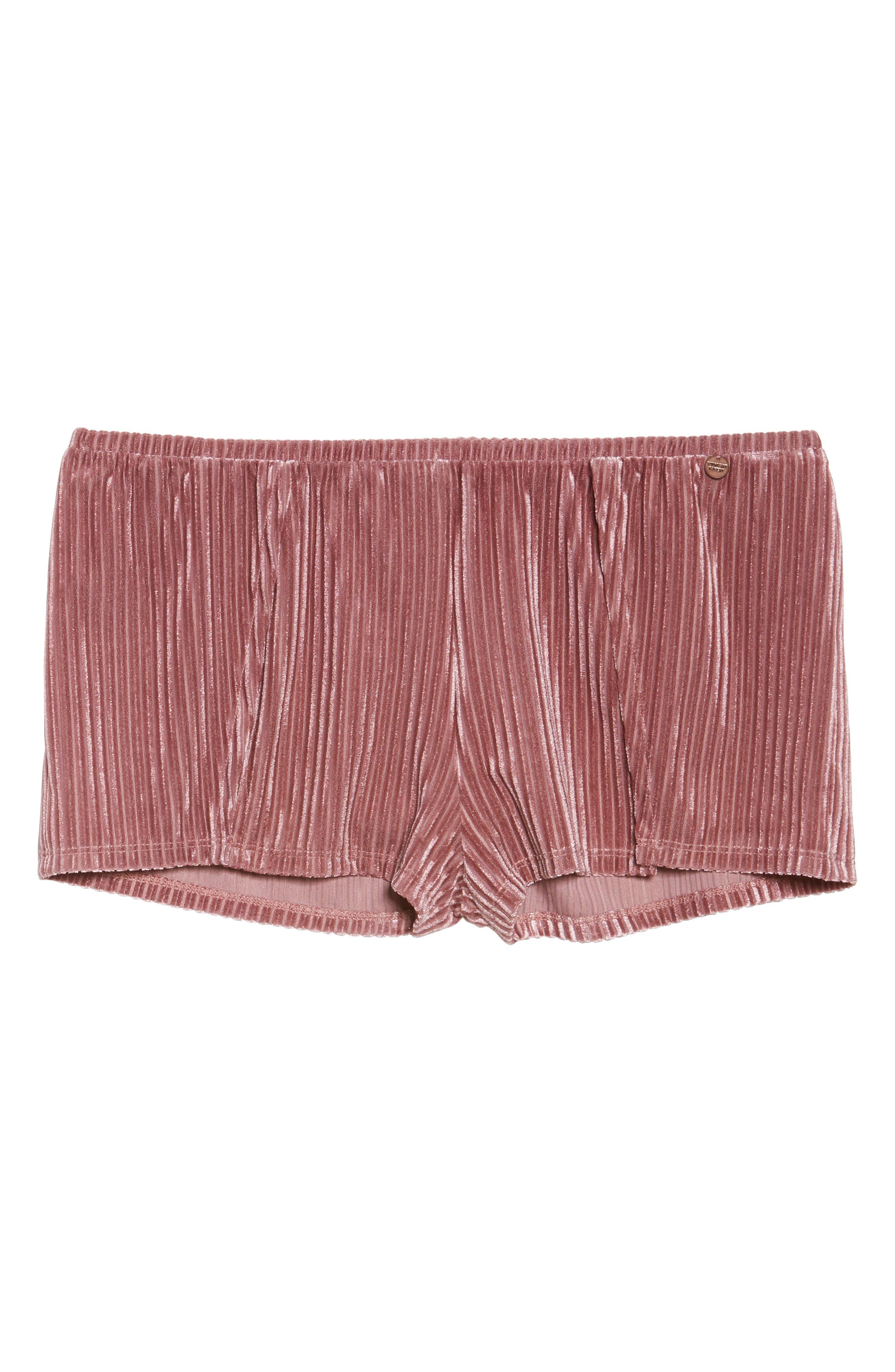 Velvet Pajama Shorts,                             Alternate thumbnail 7, color,                             Rose
