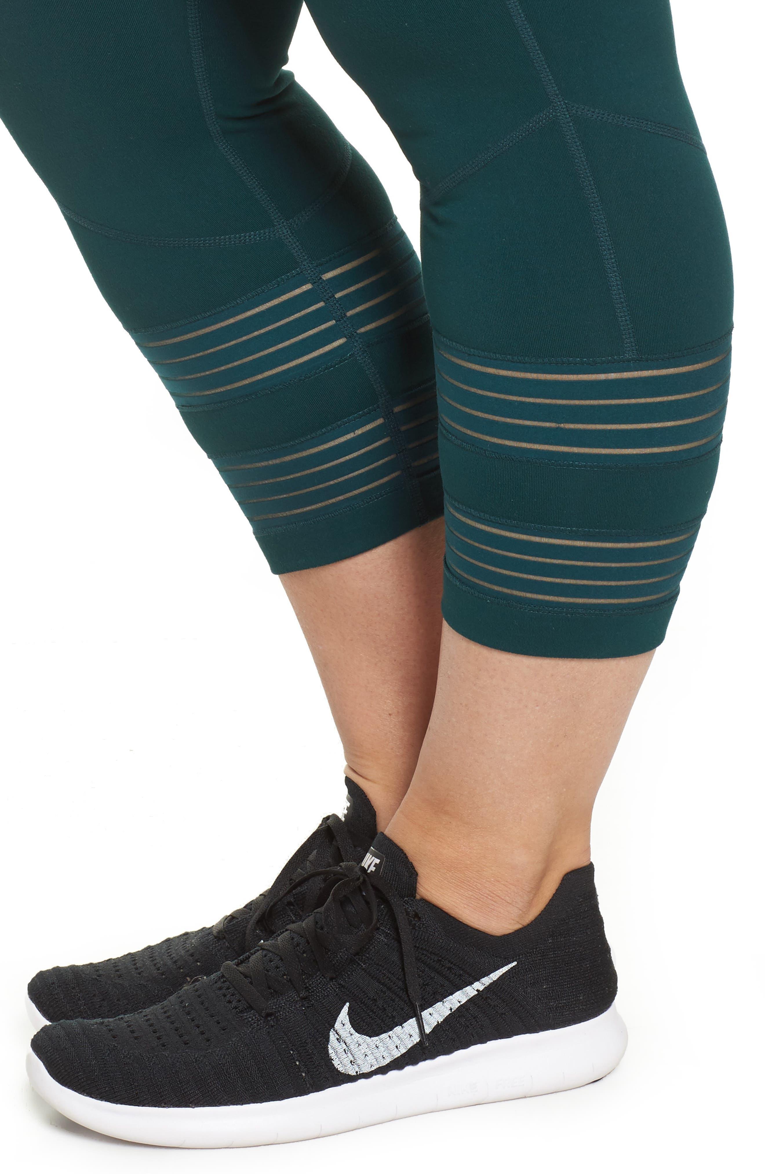 Twin High Waist Crop Leggings,                             Alternate thumbnail 4, color,                             Green Ponderosa