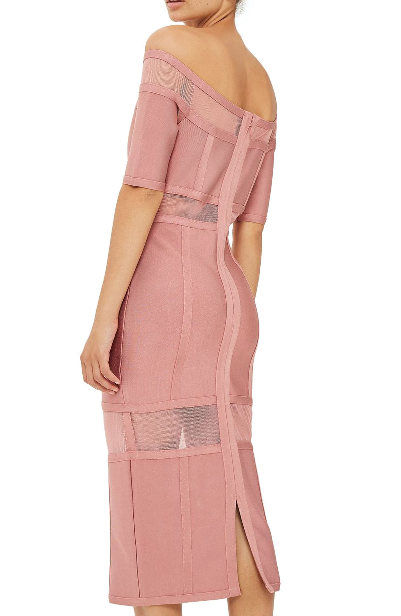 Sheer Panel Off the Shoulder Body-Con Midi Dress,                             Alternate thumbnail 2, color,                             Pink