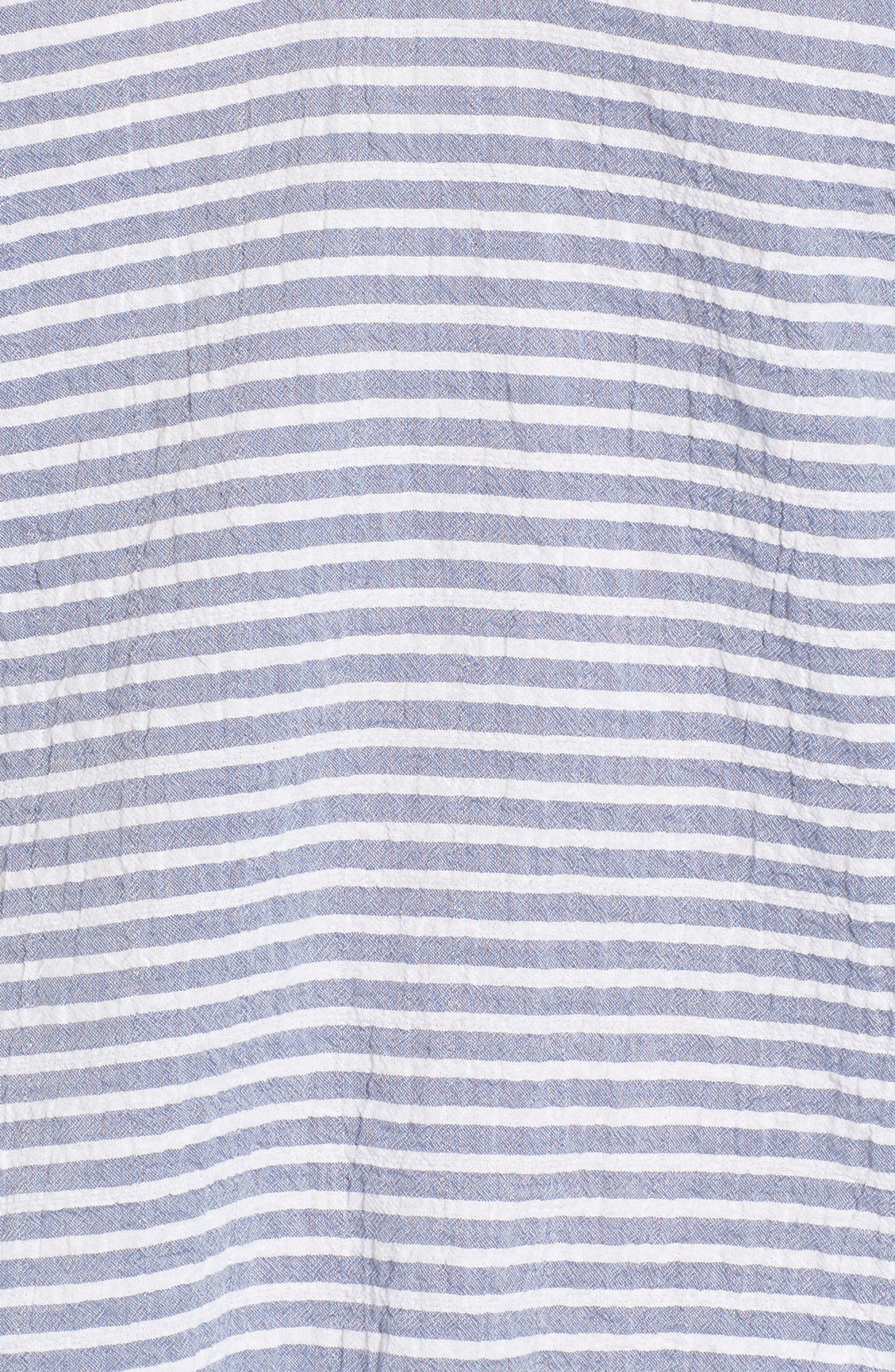 Tie Waist Stripe Seersucker Top,                             Alternate thumbnail 5, color,                             Blue- White Stripe