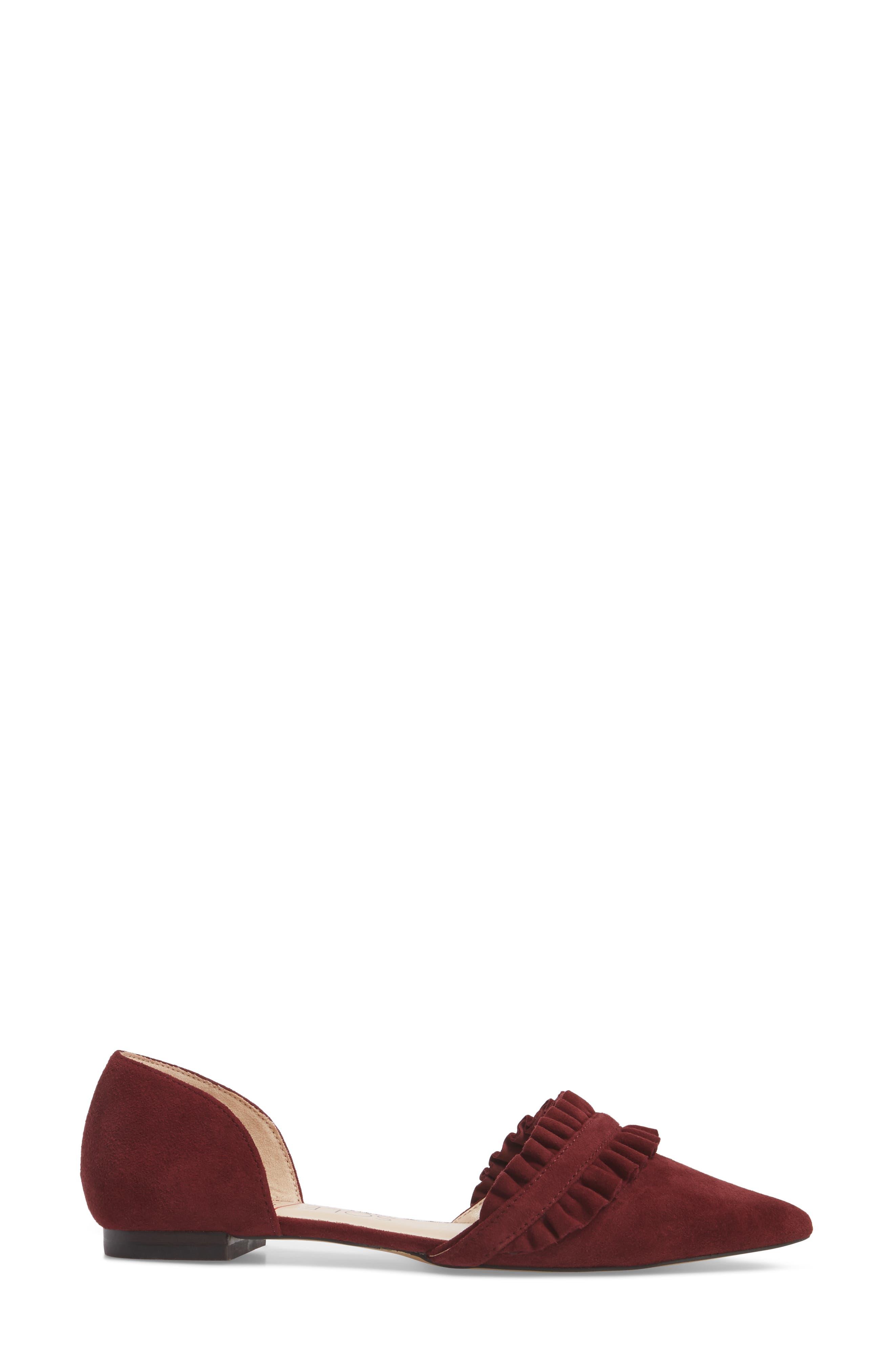Rosalind Ruffle d'Orsay Flat,                             Alternate thumbnail 3, color,                             Merlot