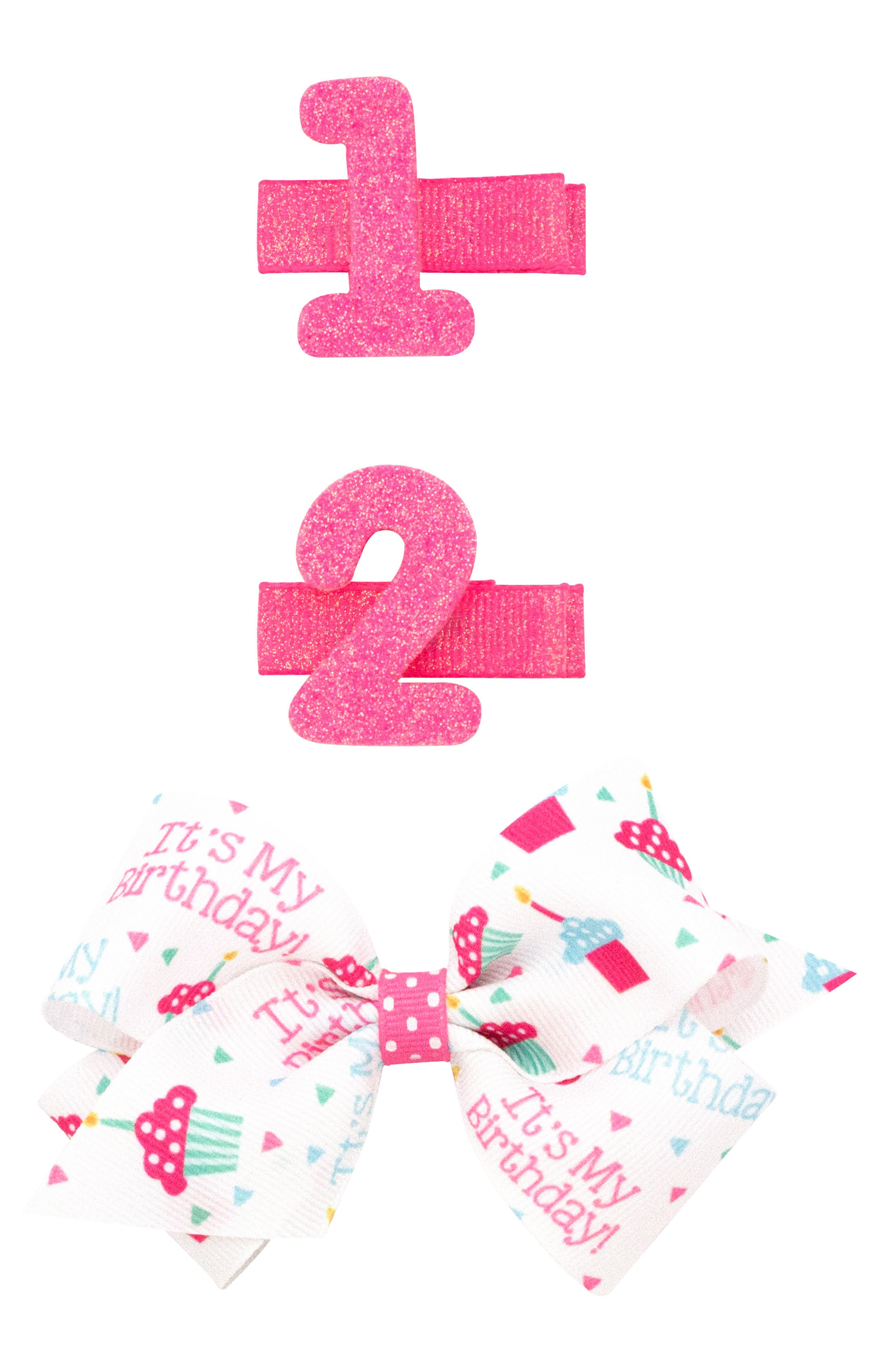 Alternate Image 1 Selected - PLH Bows & Laces 3-Pack Birthday Hair Clips (Baby Girls)