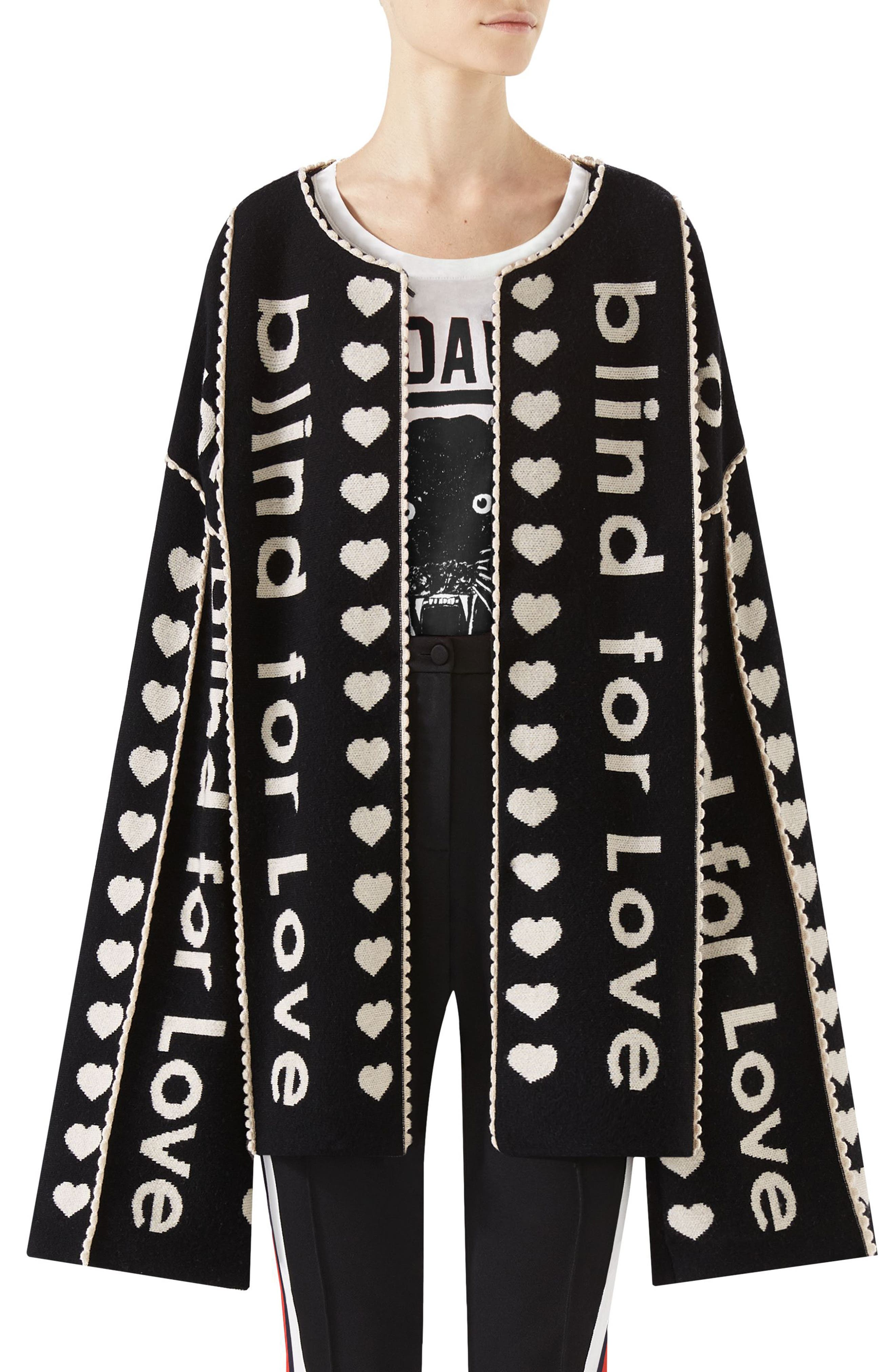 Blind for Love Jacquard Sweater Coat,                         Main,                         color, Black