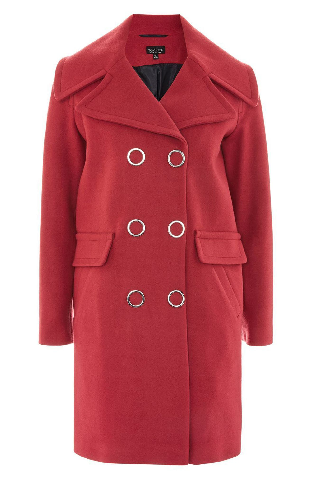 Ring Popper Cocoon Coat,                             Alternate thumbnail 4, color,                             Light Red