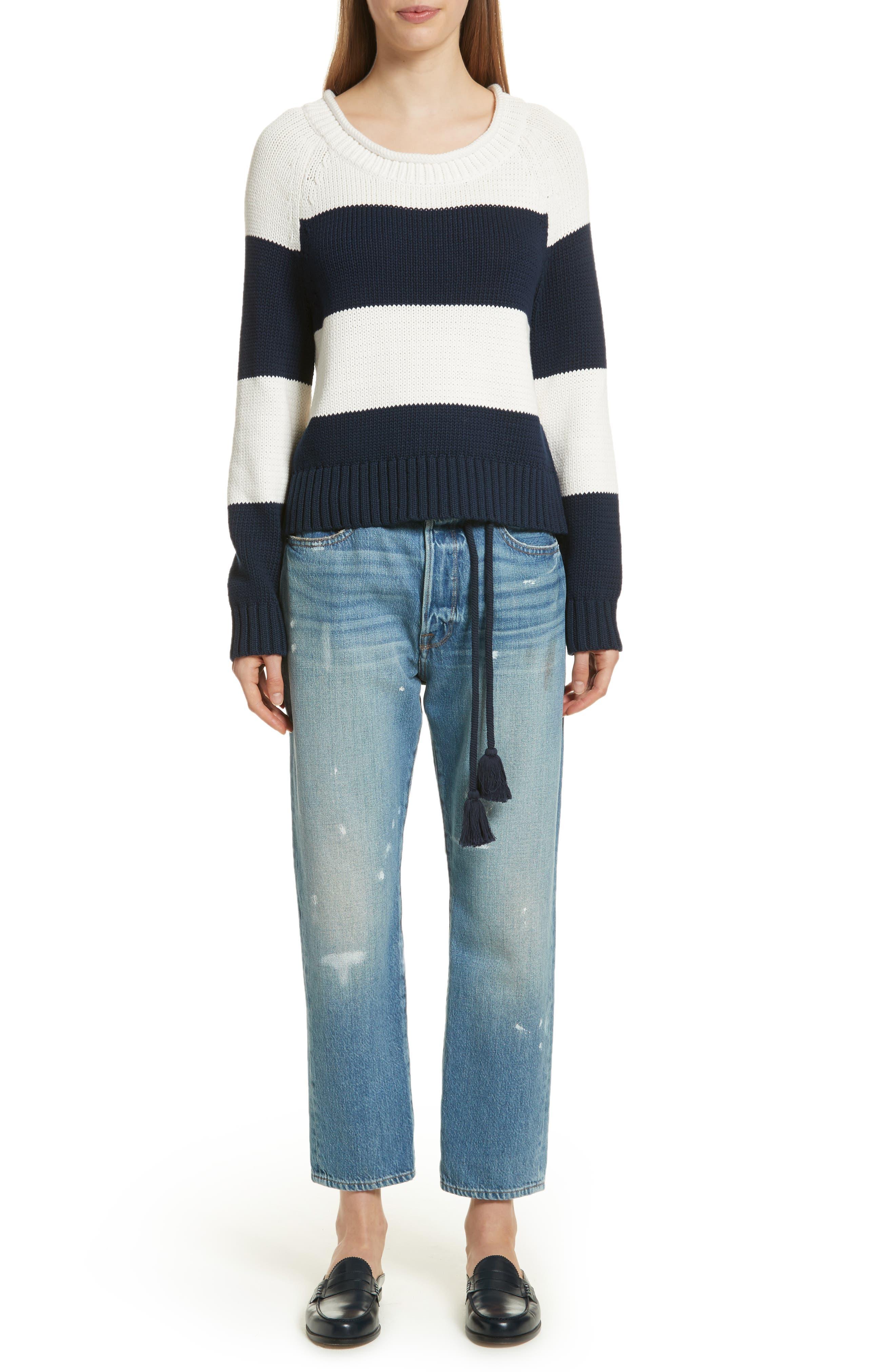 Le Original Tassel Tie High Waist Jeans,                             Alternate thumbnail 10, color,                             Bowman