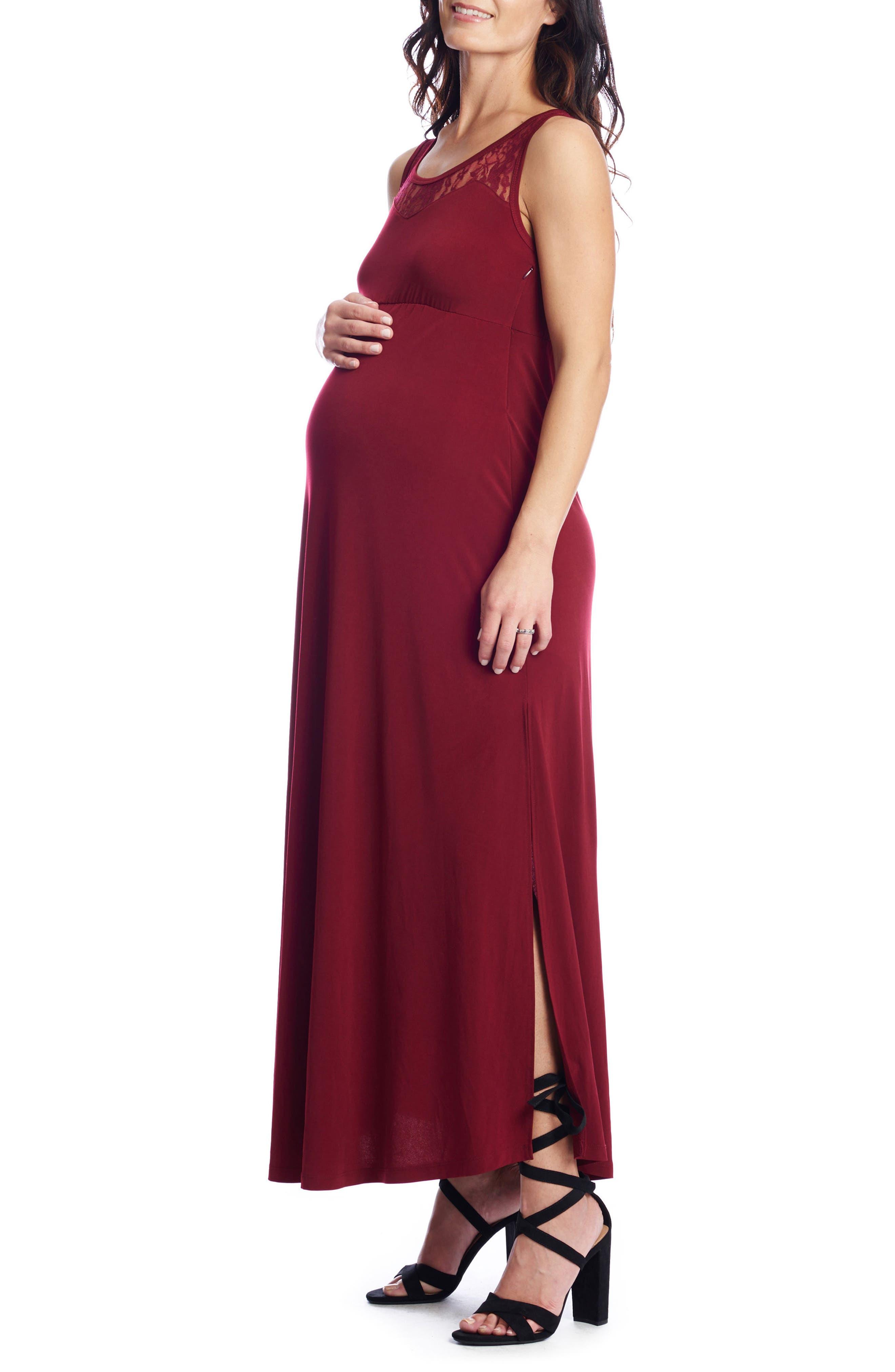Rose Maternity/Nursing Maxi Dress,                         Main,                         color, Auburn