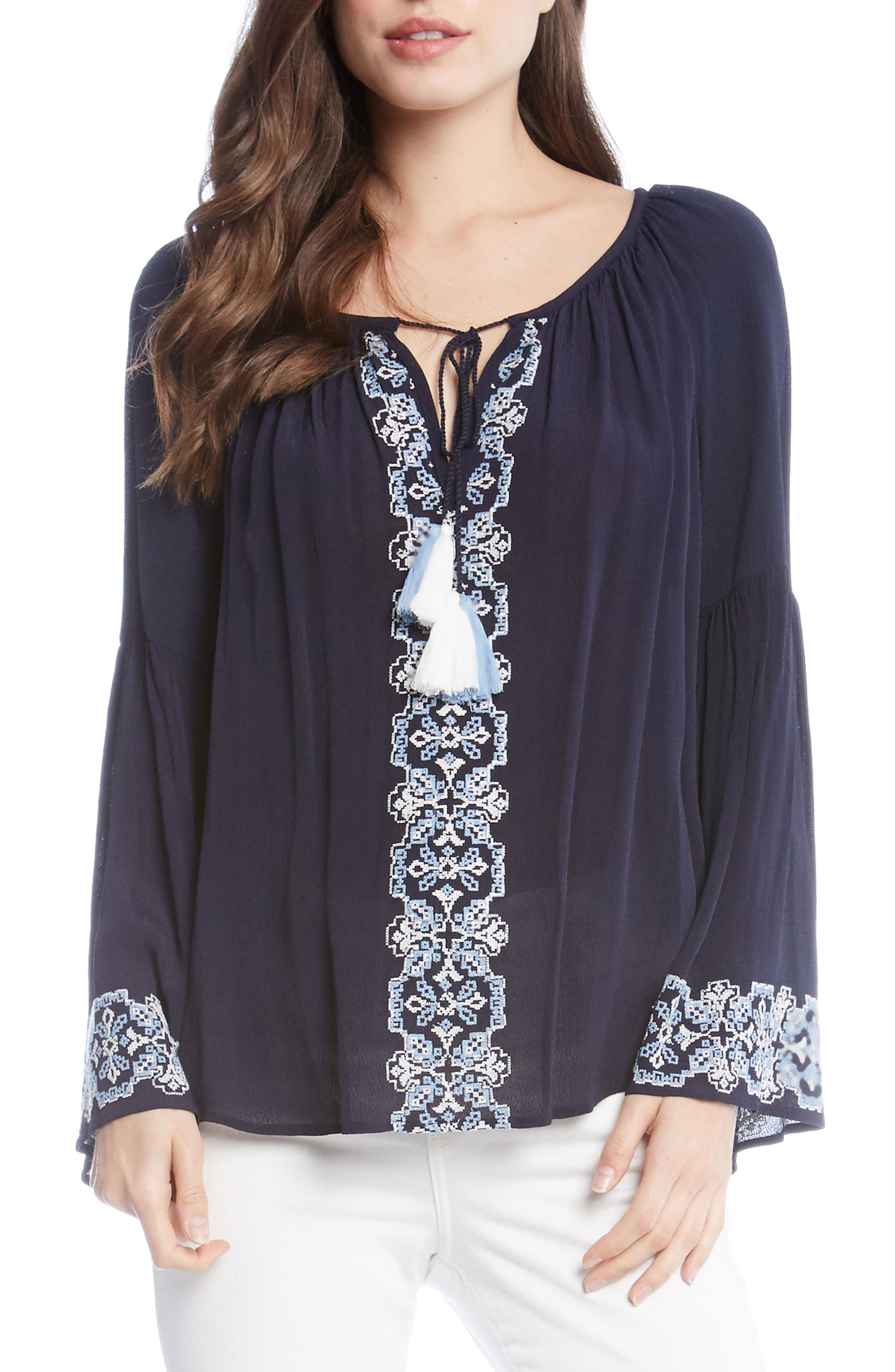 Double Tassel Embroidered Top,                         Main,                         color, Navy