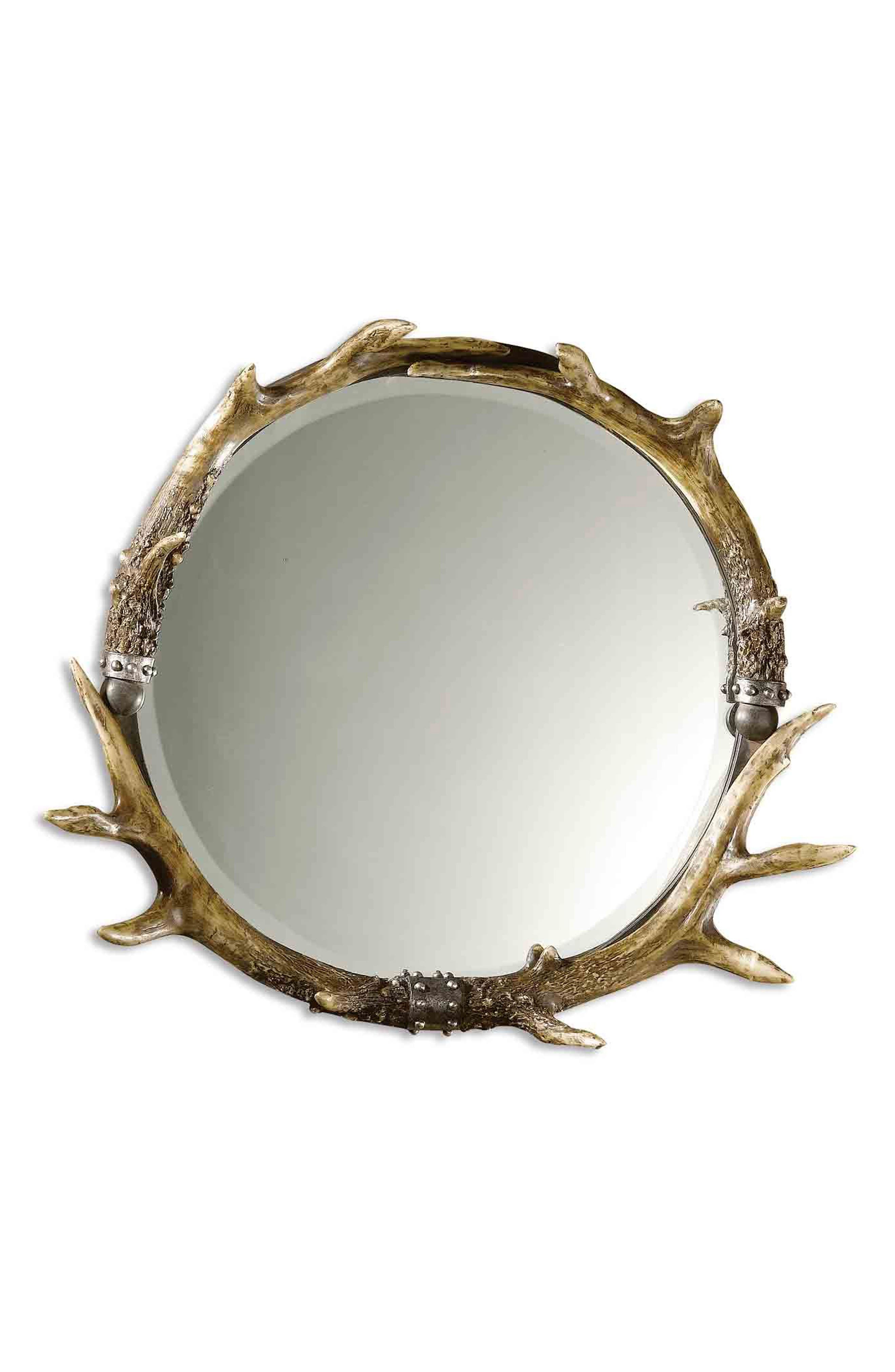 Stag Horn Wall Mirror,                         Main,                         color, Brown