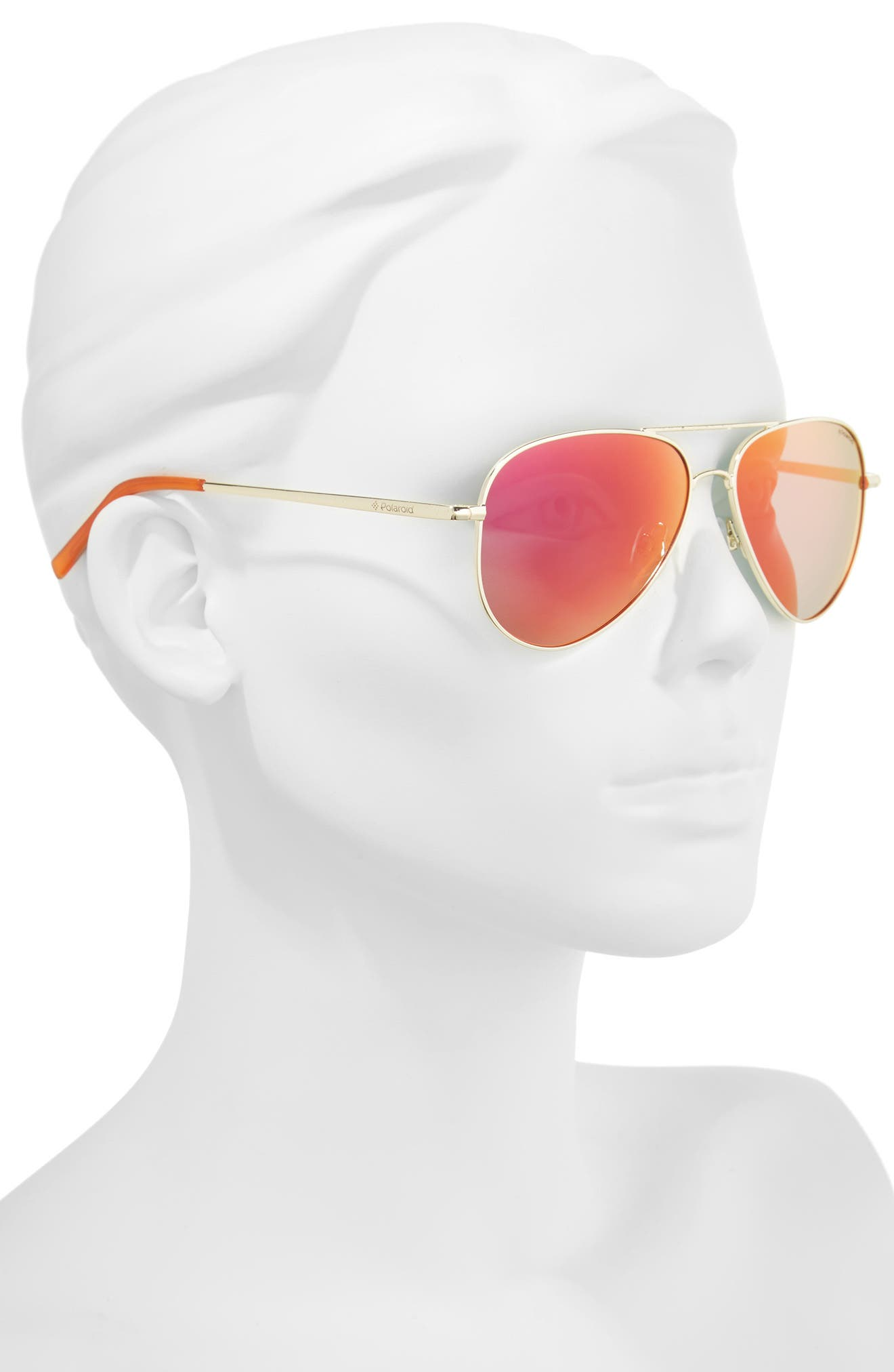 56mm Polarized Aviator Sunglasses,                             Alternate thumbnail 3, color,                             Gold/ Red Mirror