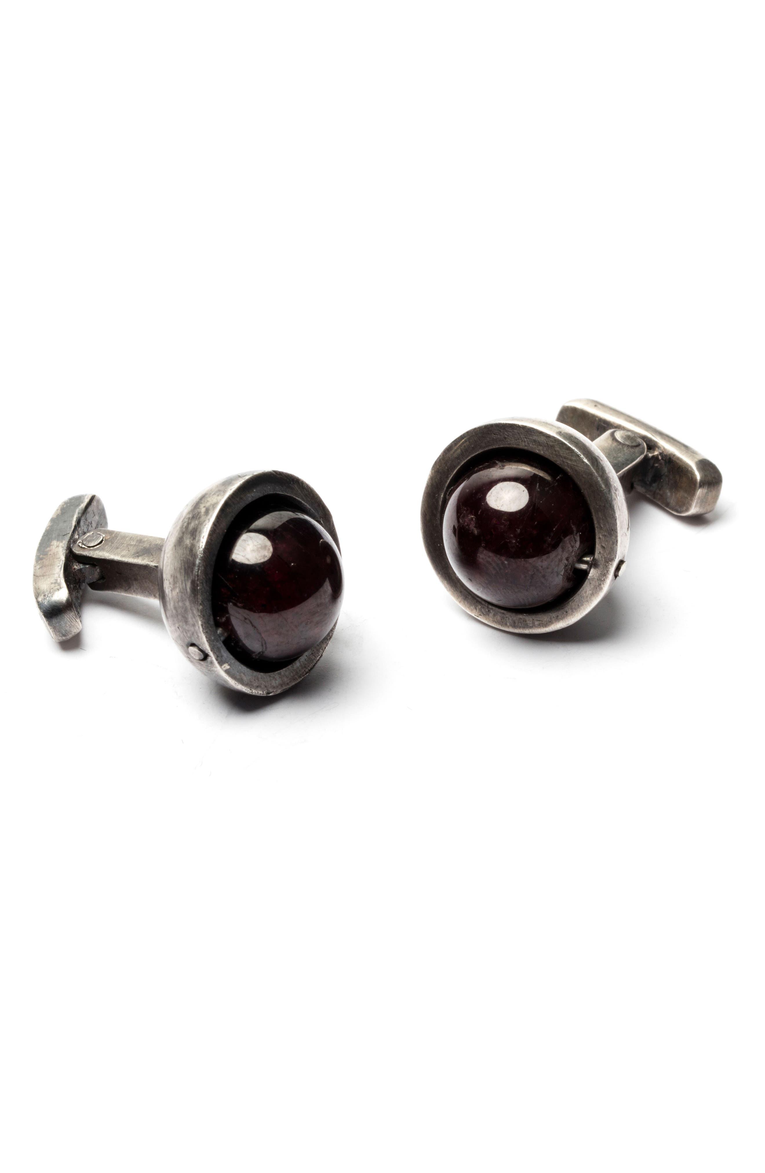Spinning Garnet Cuff Links,                         Main,                         color, Silver/Burgundy
