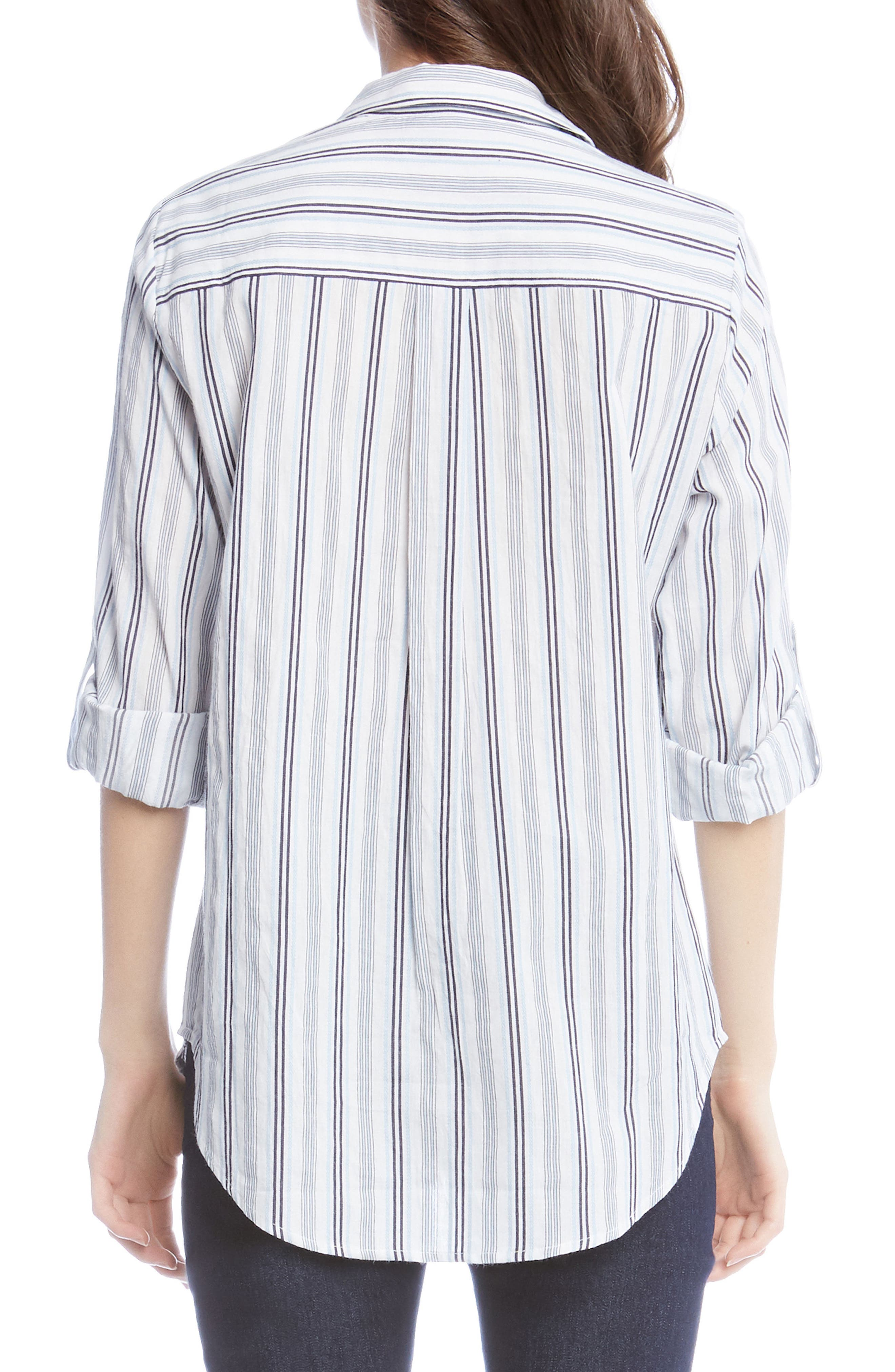 Embroidered Roll Sleeve Shirt,                             Alternate thumbnail 2, color,                             Striped