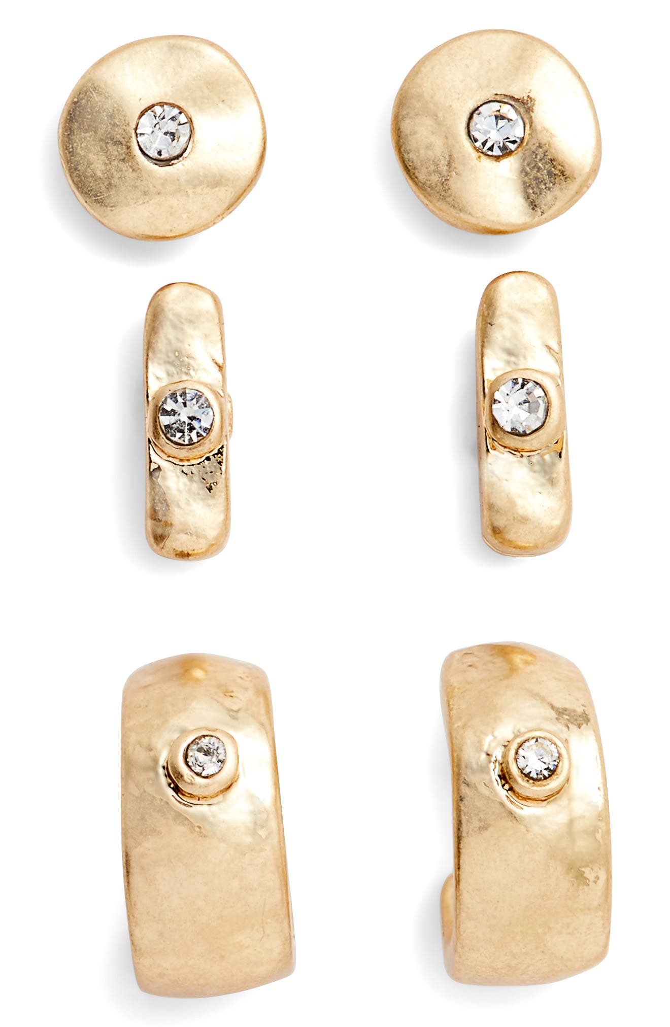 Set of Three Stud Earrings,                             Main thumbnail 1, color,                             Clear- Gold
