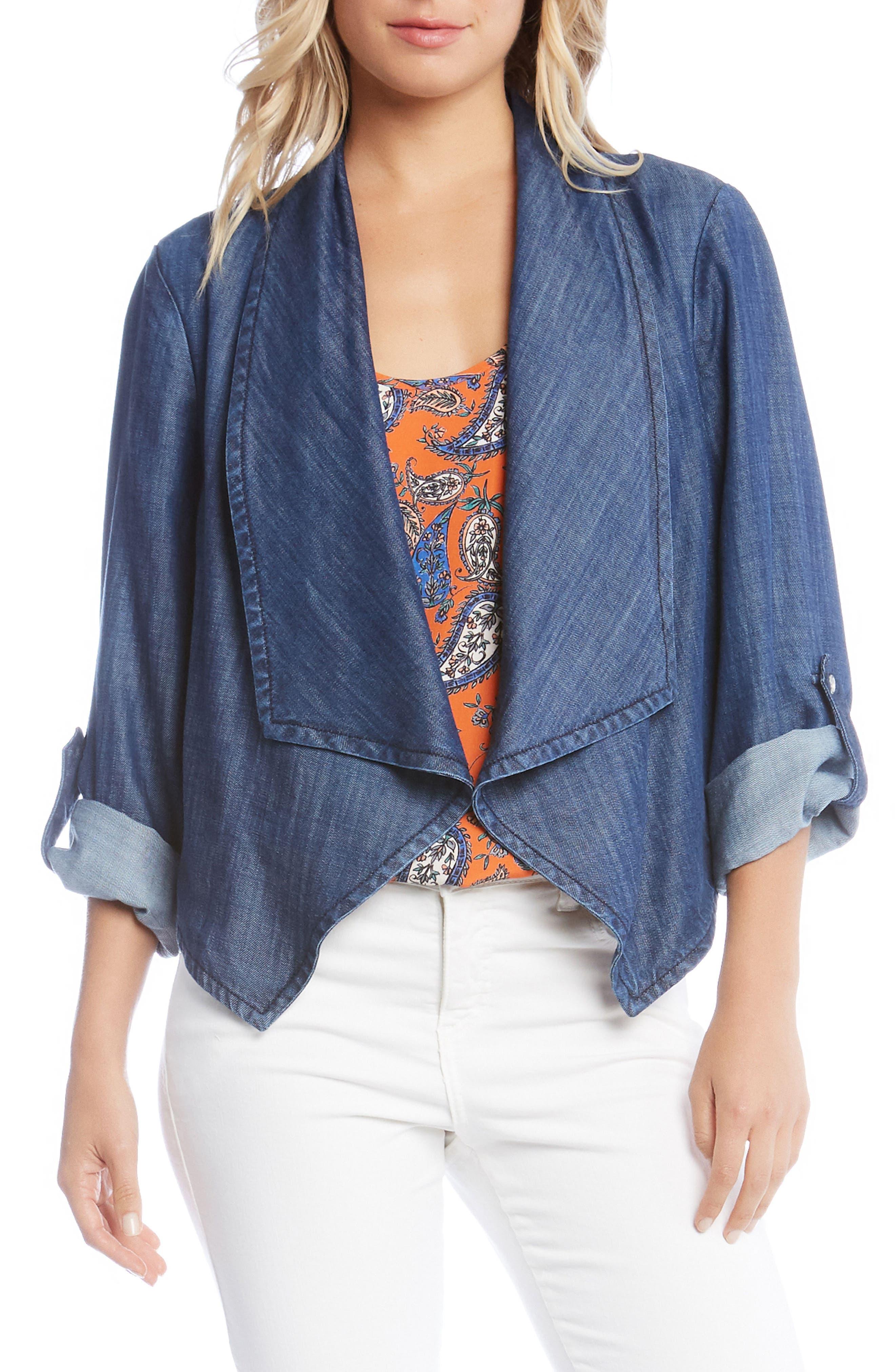 Shirred Back Denim Jacket,                         Main,                         color, Denim