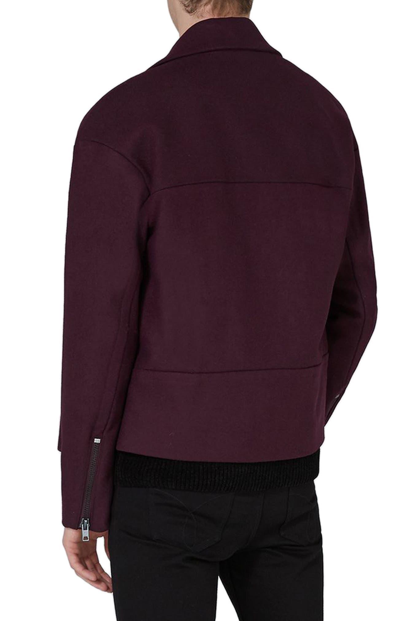Alternate Image 2  - Topman Wool Blend Biker Jacket