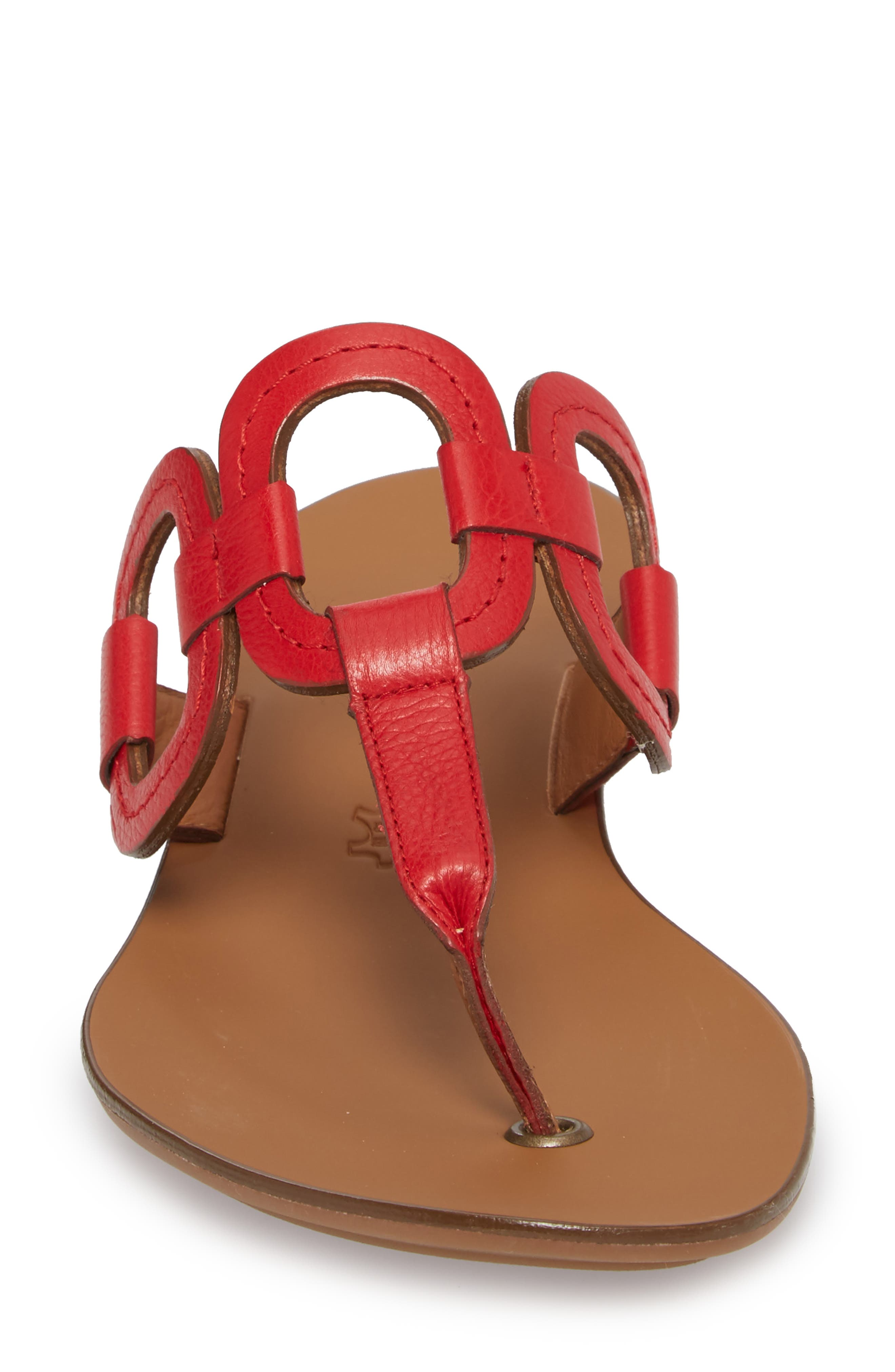 Lanai Flip-Flop,                             Alternate thumbnail 4, color,                             Red Leather