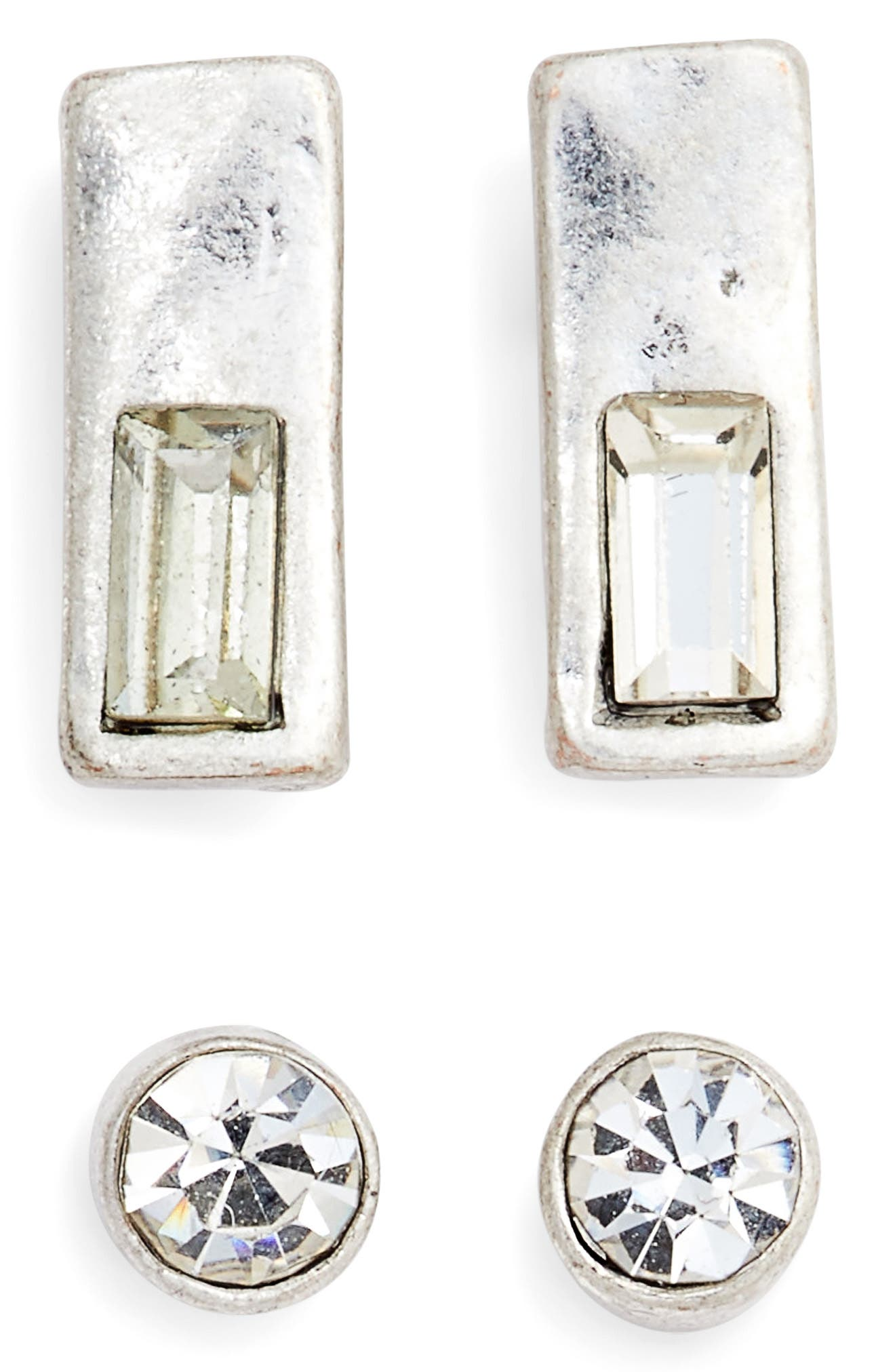 Set of 2 Crystal Studs,                             Main thumbnail 1, color,                             Clear- Rhodium