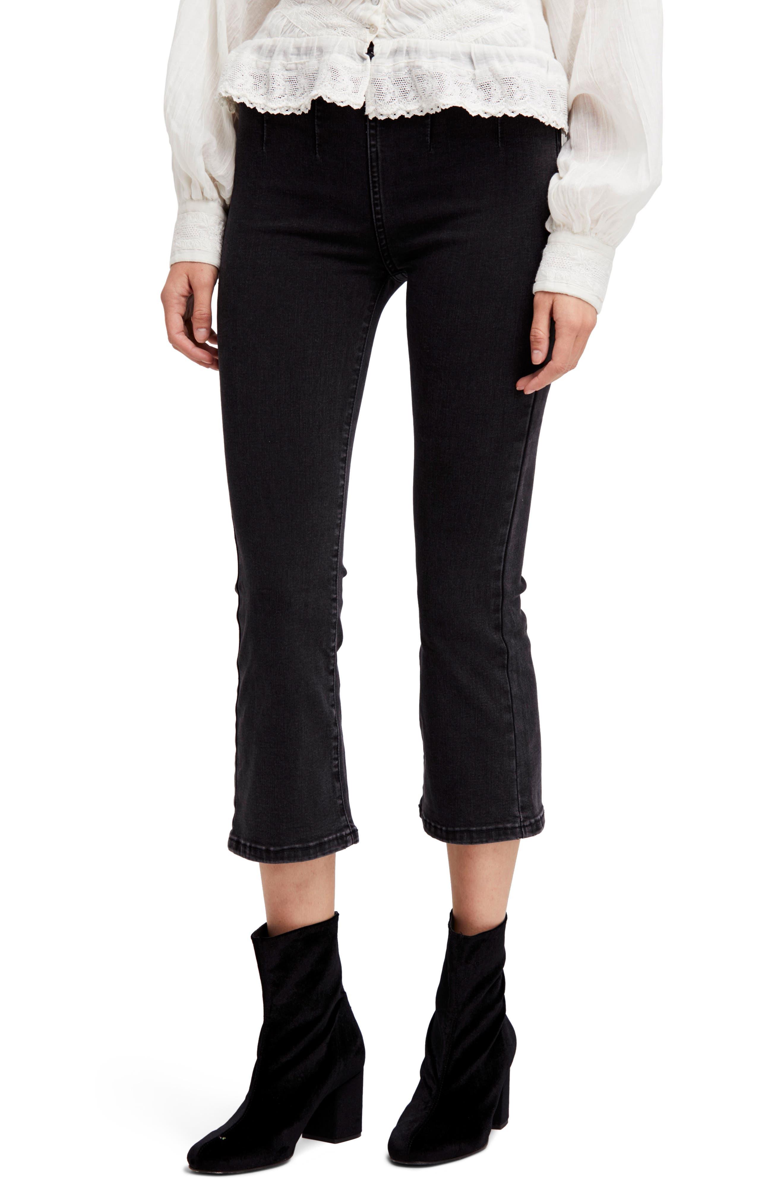 Ultra High Waist Crop Bootcut Jeans,                             Main thumbnail 1, color,                             Black