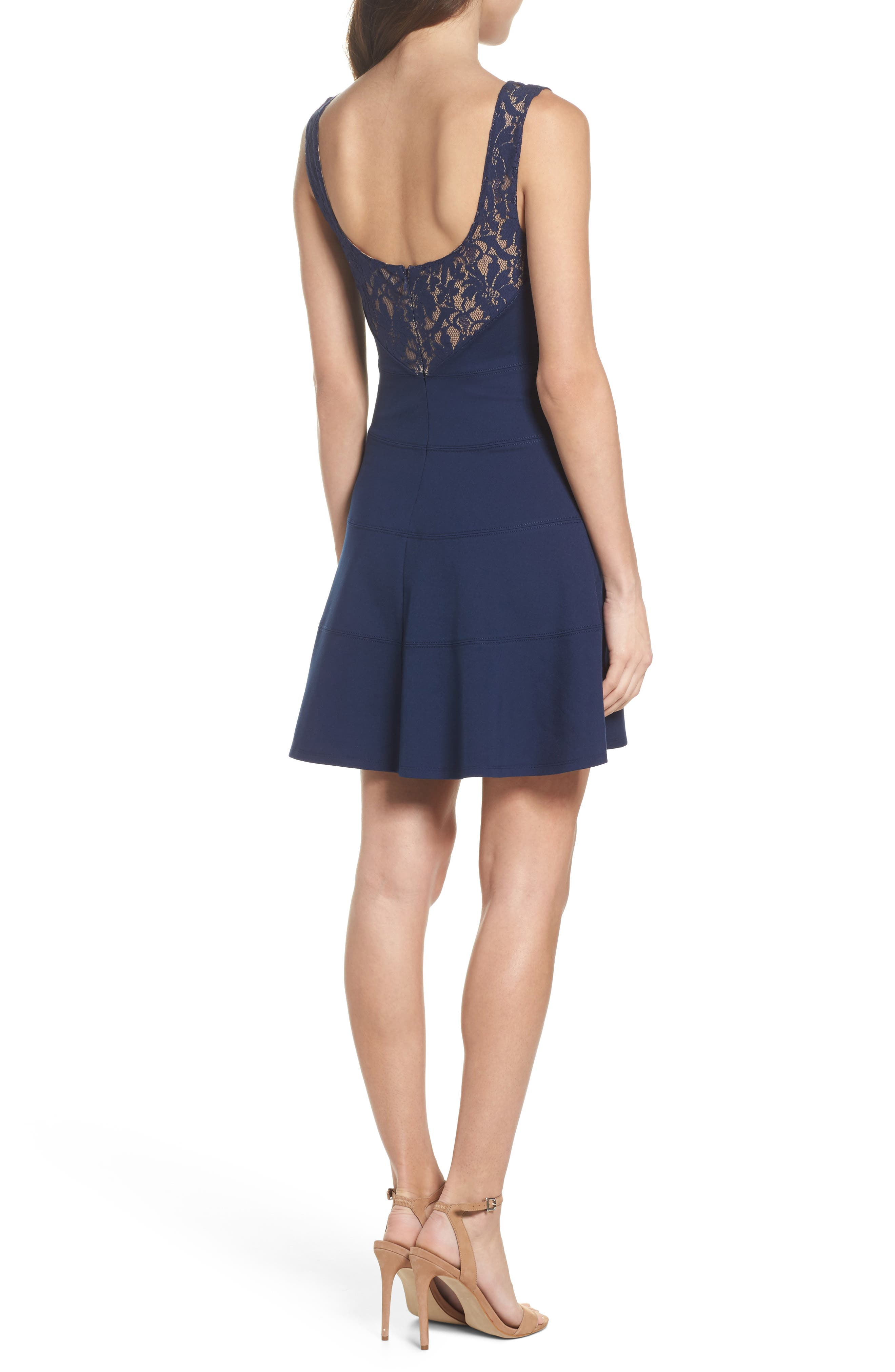Lace Back Fit & Flare Dress,                             Alternate thumbnail 3, color,                             Navy