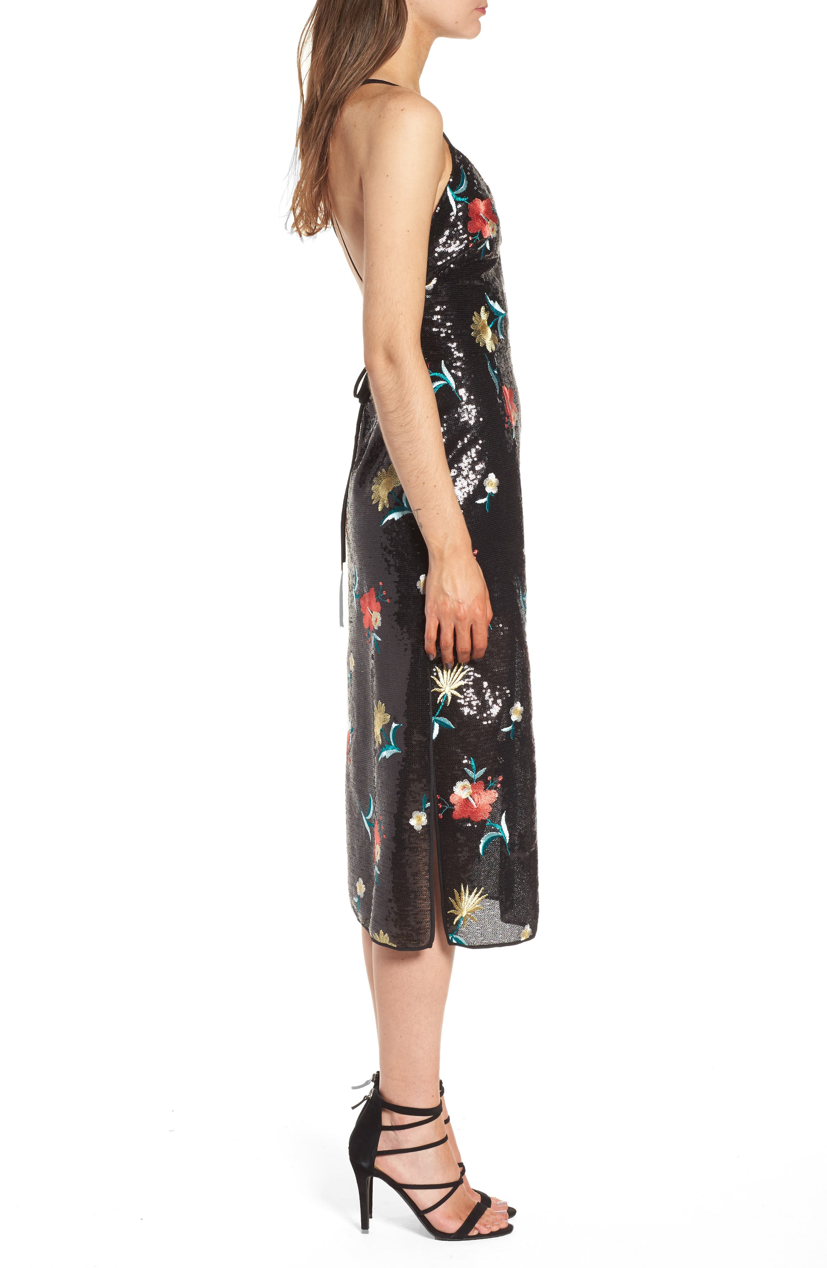 Melinda Midi Dress,                             Alternate thumbnail 3, color,                             Black