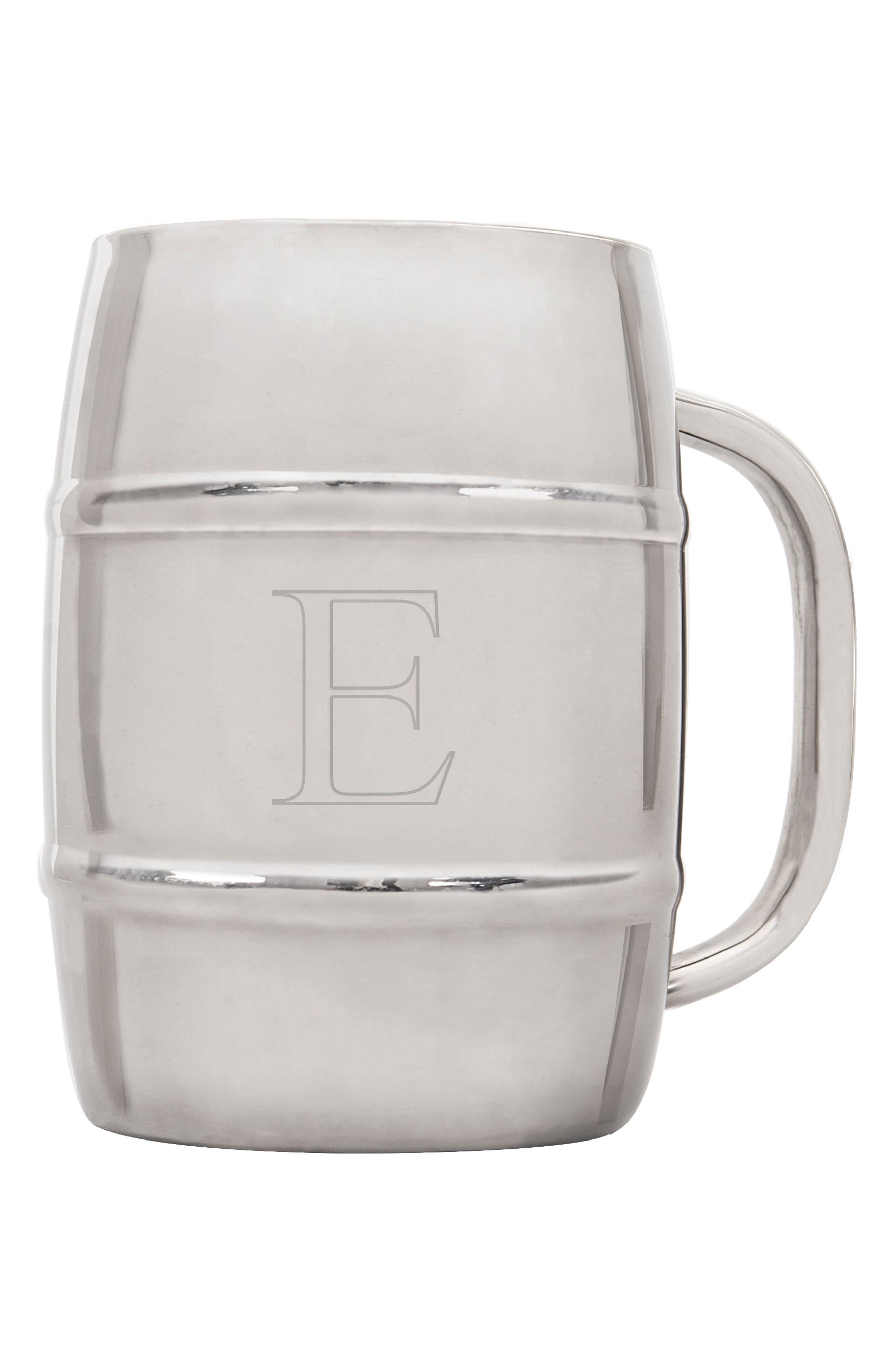 'XL Beer Keg' Monogram Mug,                         Main,                         color, Silver - E