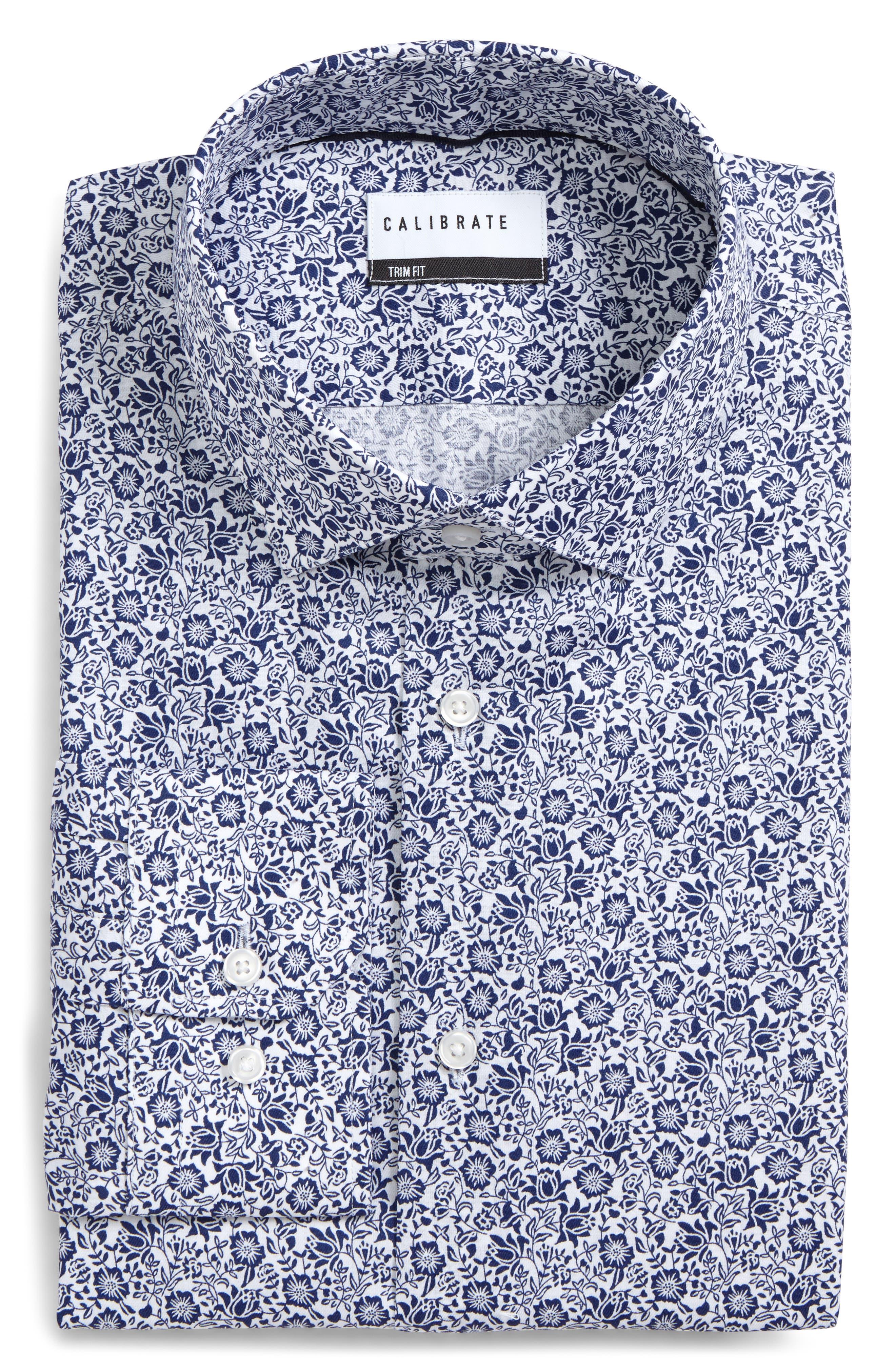 Calibrate Trim Fit Floral Print Dress Shirt