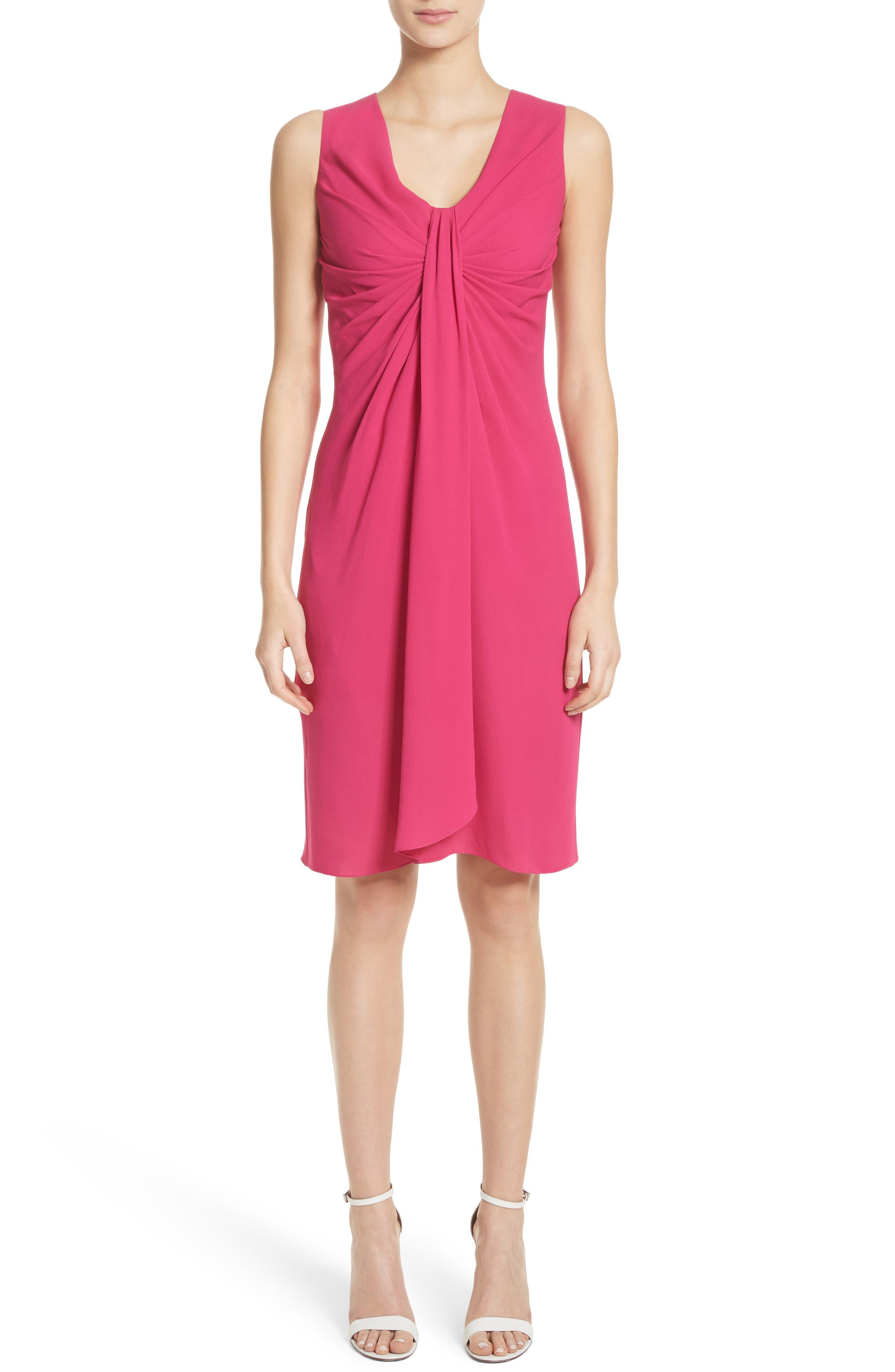 Gathered Silk Dress,                         Main,                         color, Hibiscus