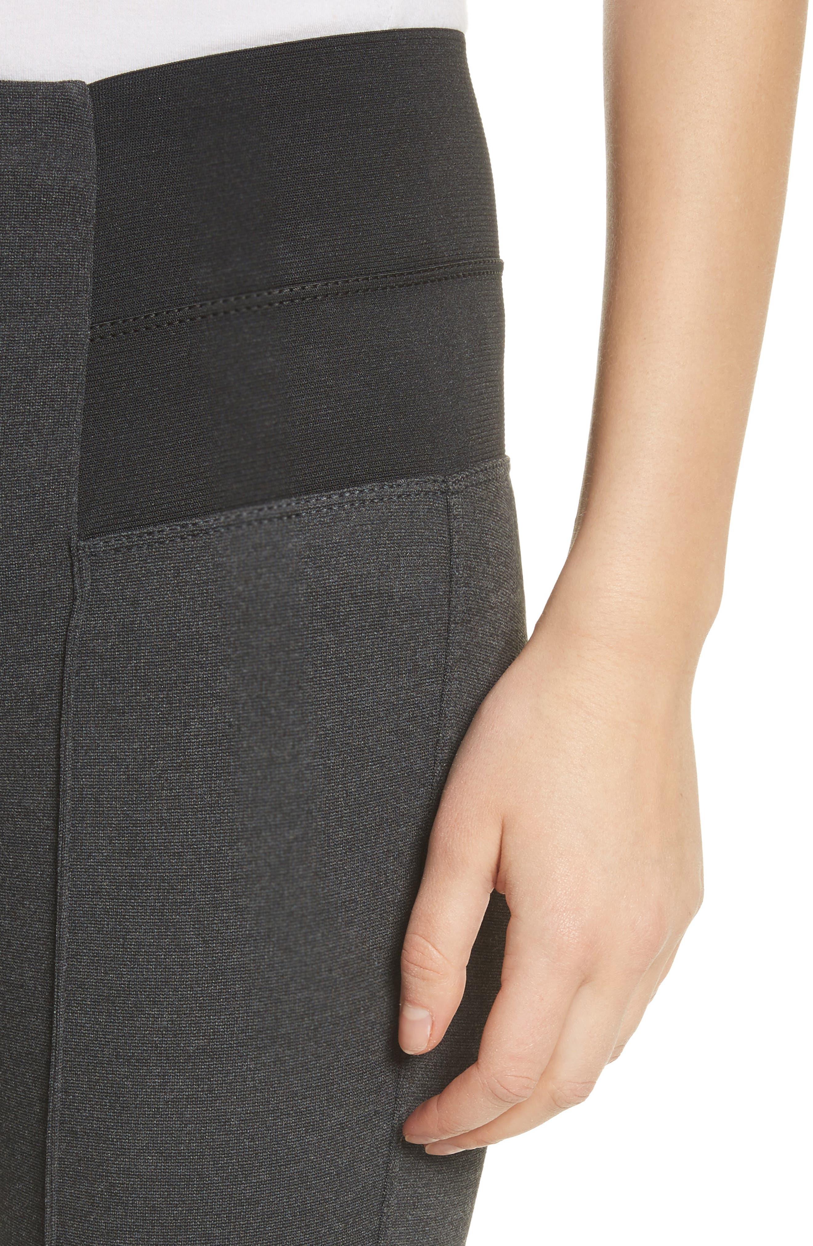 Pintuck Seam Punto Milano Skinny Pants,                             Alternate thumbnail 6, color,                             Smoke
