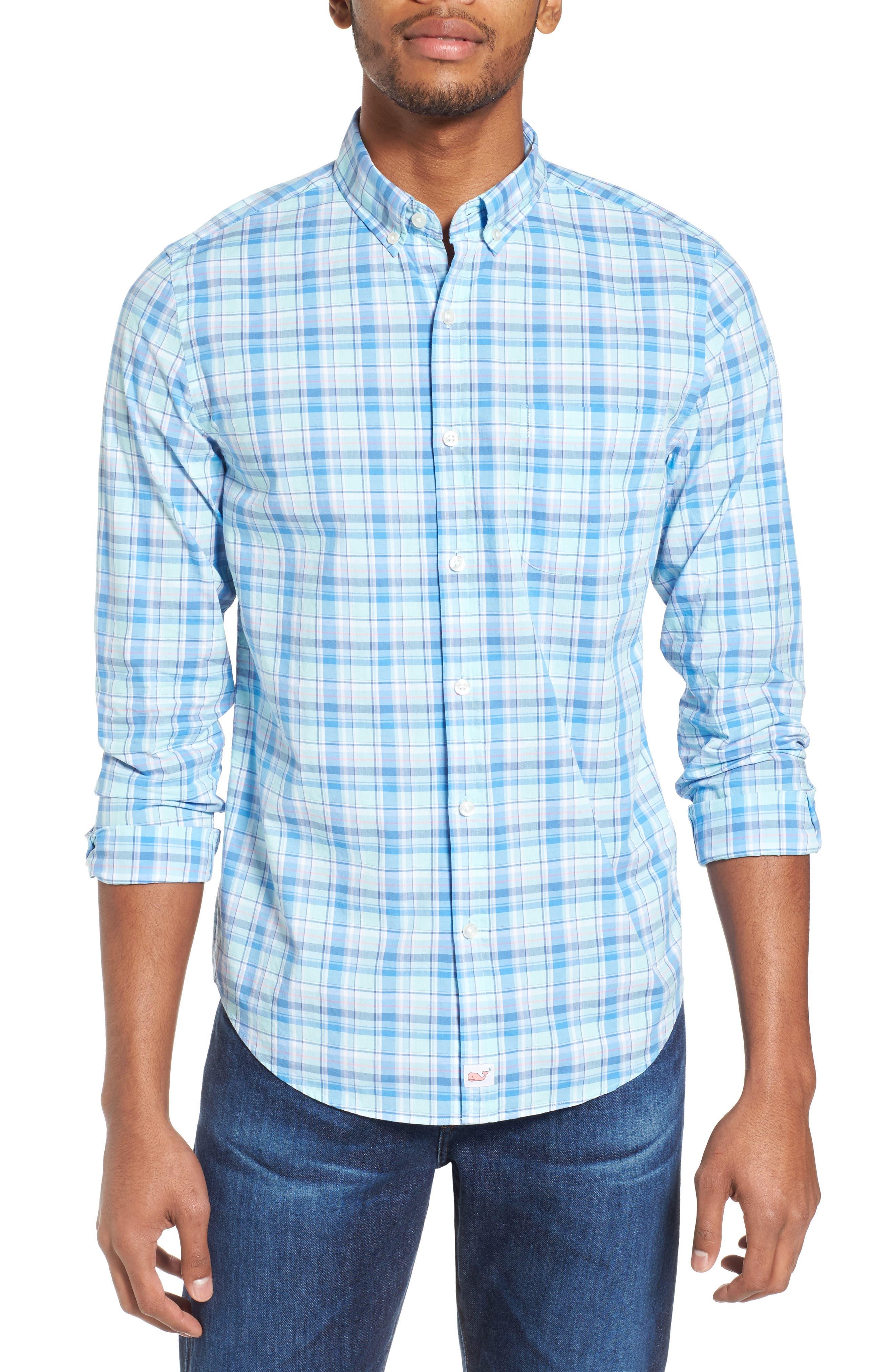 Murray Pine Island Slim Fit Plaid Sport Shirt,                         Main,                         color, Sea Splash