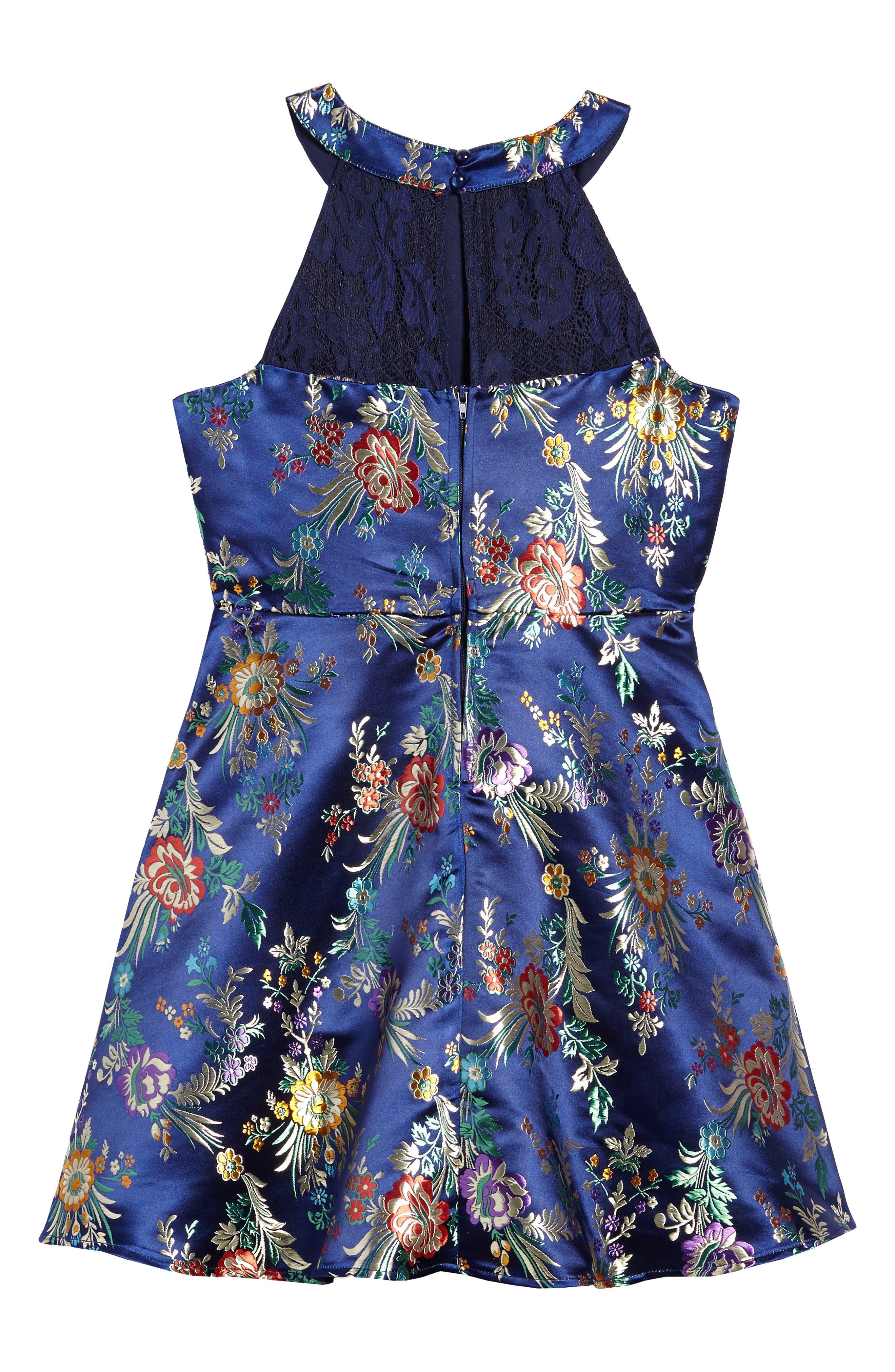 Alternate Image 2  - Trixxi Metallic Floral Jacquard Dress (Big Girls)