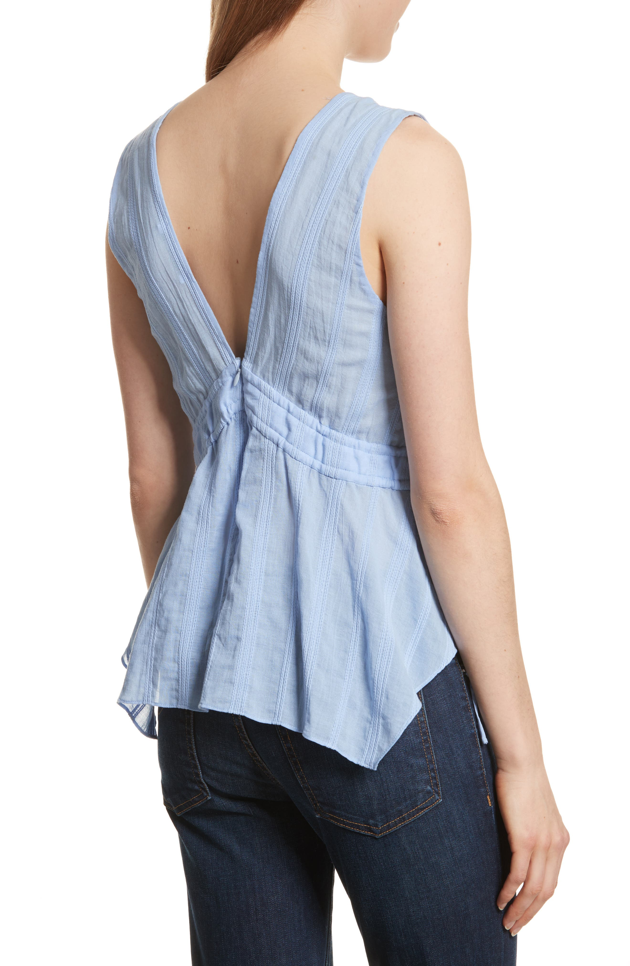Side Tie Top,                             Alternate thumbnail 2, color,                             French Blue