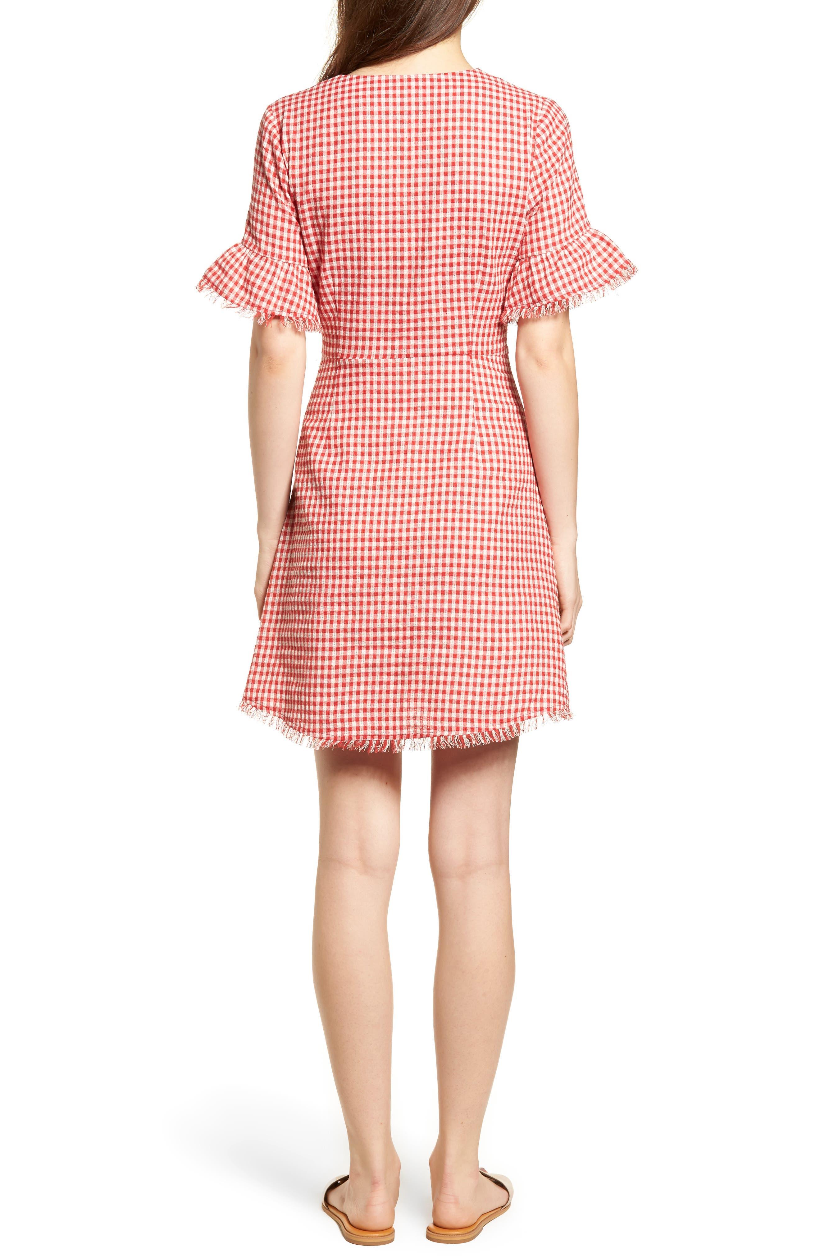 Gingham Ruffle Sleeve Dress,                             Alternate thumbnail 3, color,                             Red Gingham
