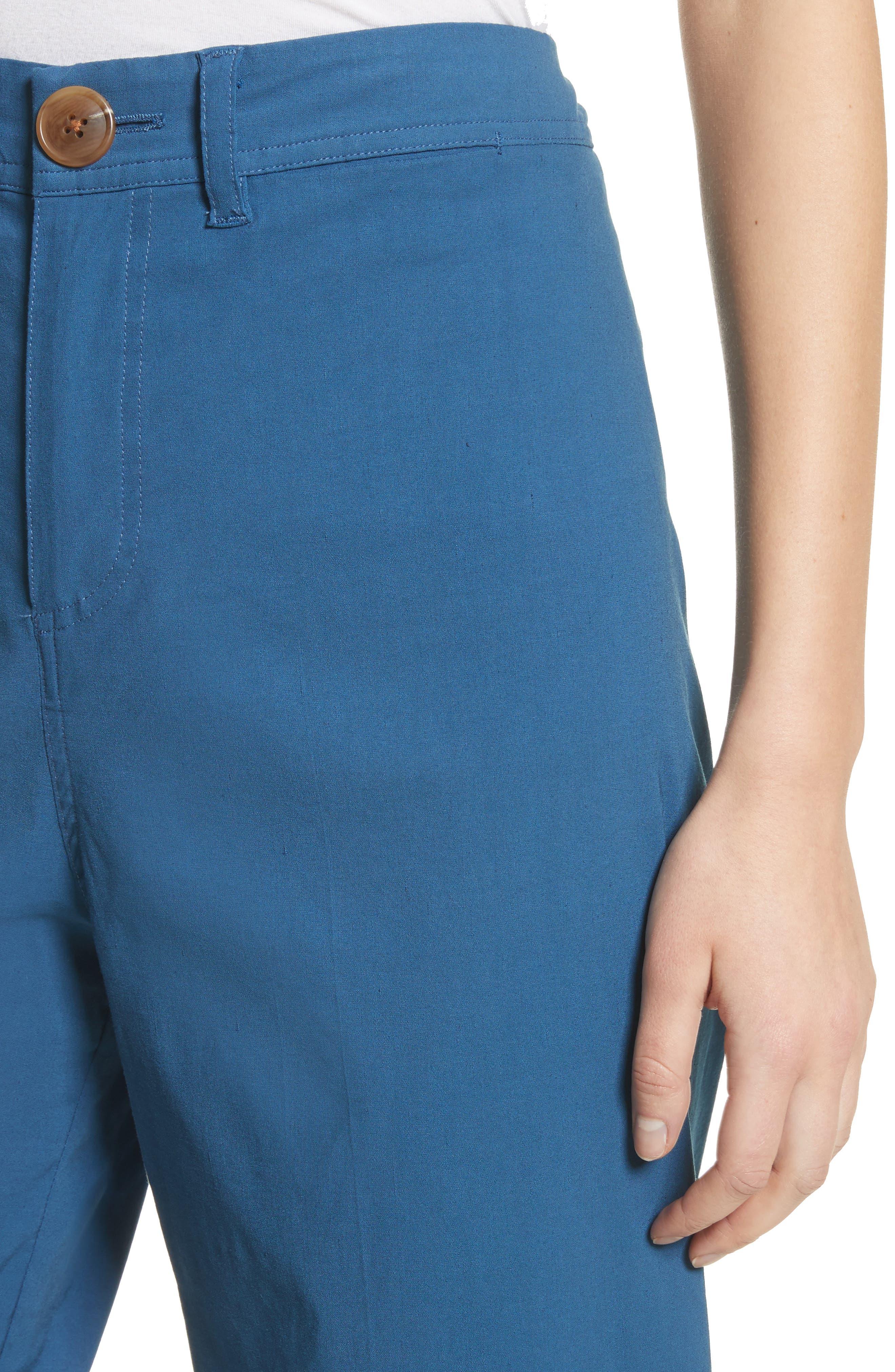Winona Cuff Wide Leg Pants,                             Alternate thumbnail 4, color,                             Blue
