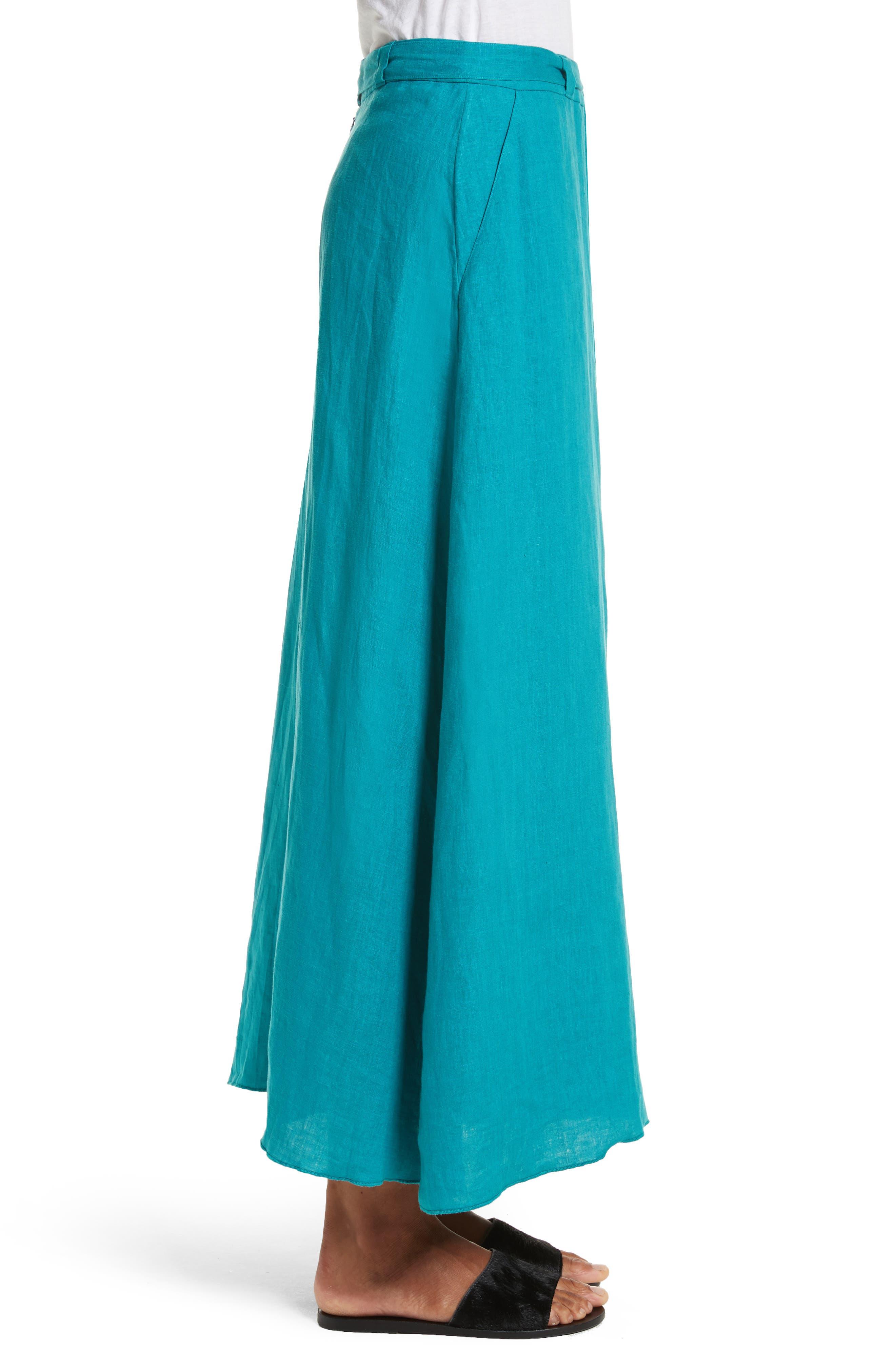 Delta Tie Waist Linen Skirt,                             Alternate thumbnail 3, color,                             Peacock