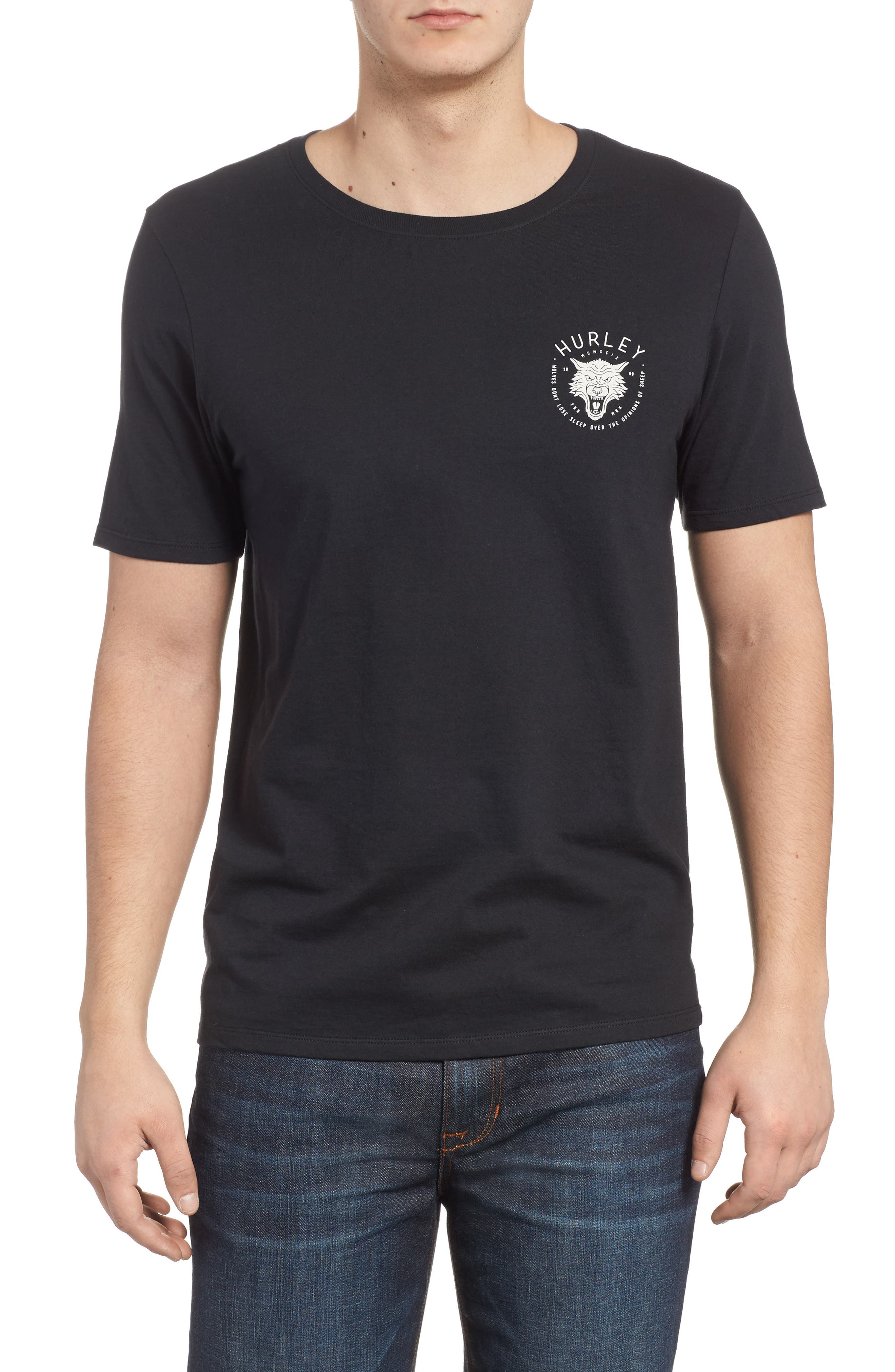 Wolf Graphic T-Shirt,                         Main,                         color, Black