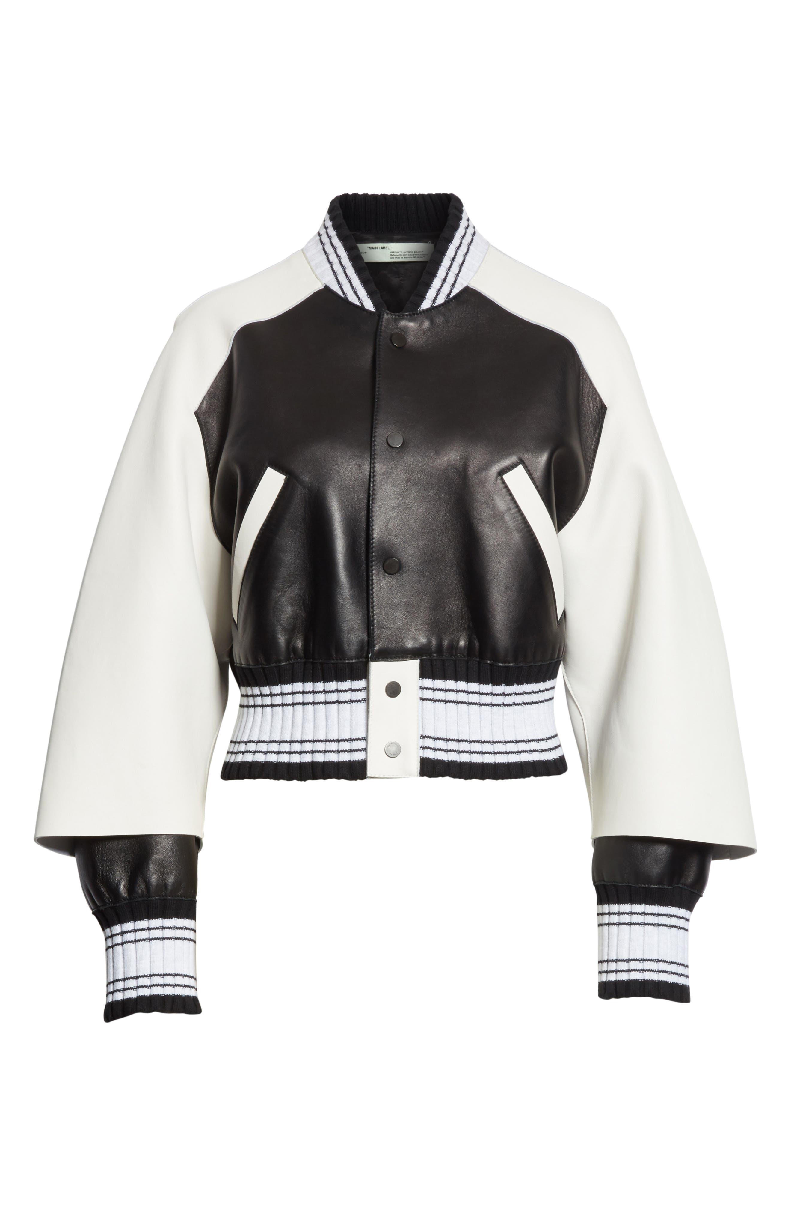 Crop Varsity Jacket,                             Alternate thumbnail 7, color,                             Multicolor White