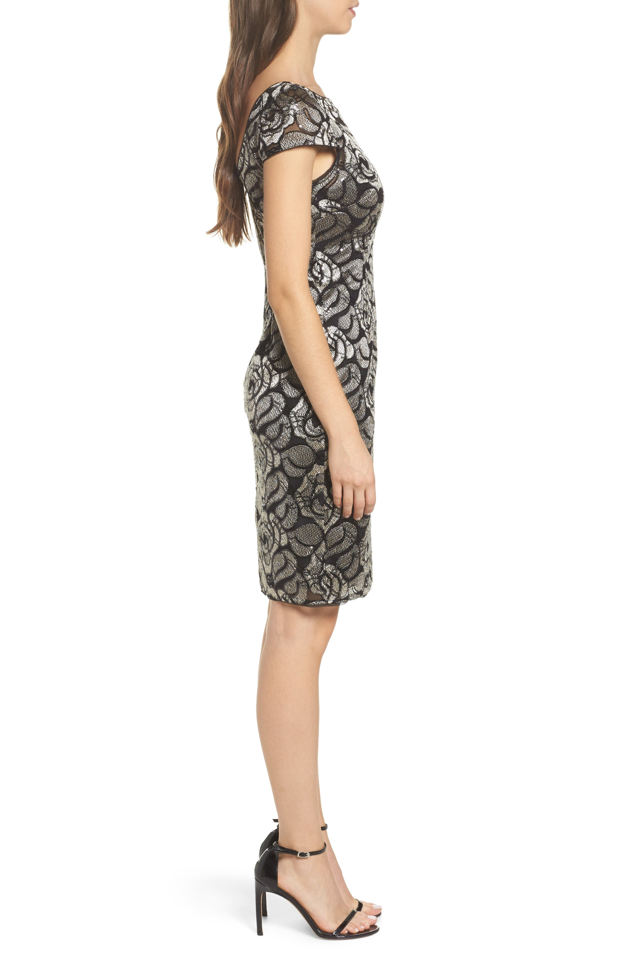Sequin Embroidered Rose Cocktail Dress,                             Alternate thumbnail 3, color,                             Black/Gold