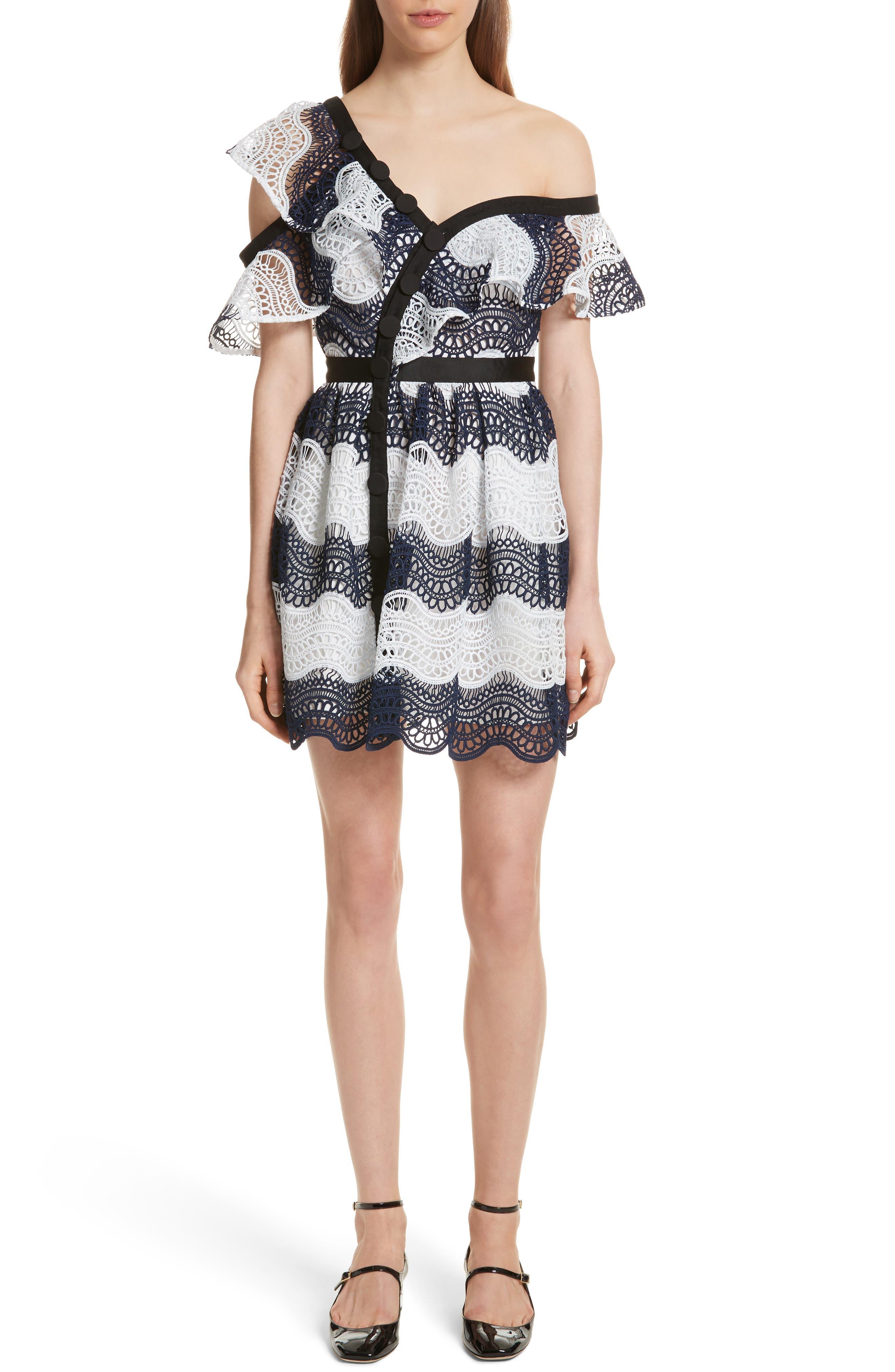 Wave Lace Frill Minidress,                         Main,                         color, Blue/ White
