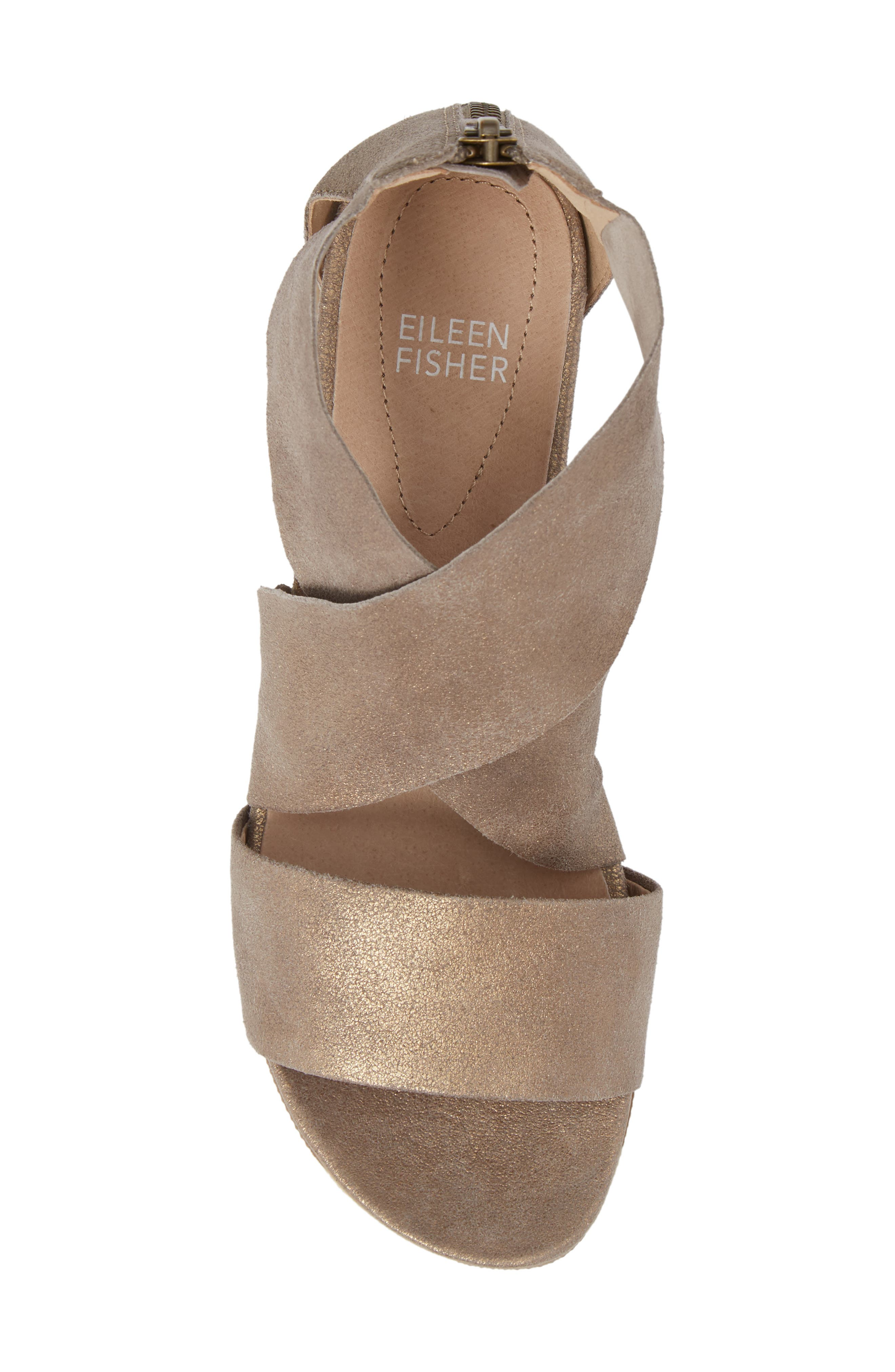 Sport Platform Sandal,                             Alternate thumbnail 5, color,                             Platinum Leather