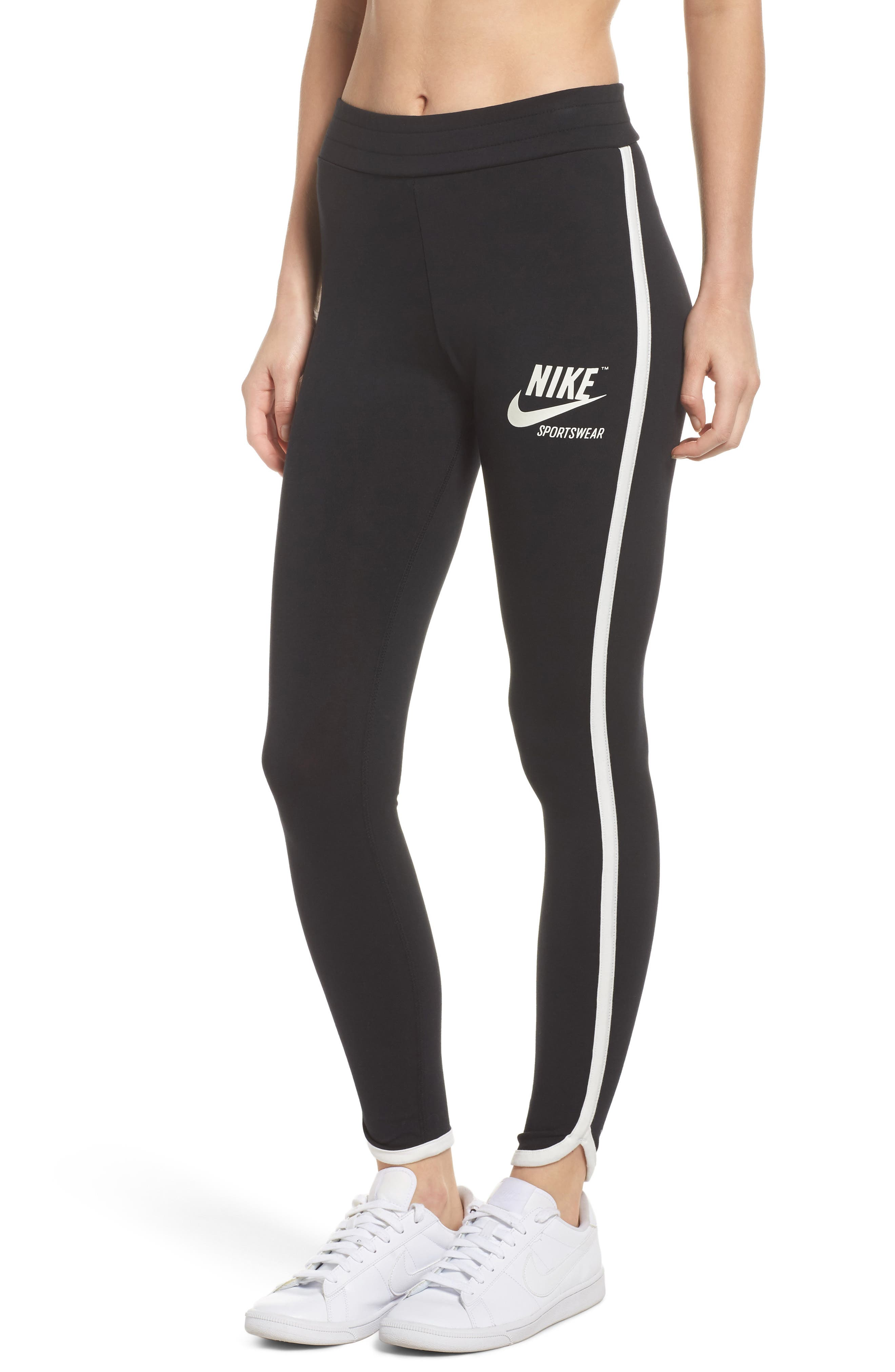 Sportswear Women's Leggings,                         Main,                         color, Black/ Sail