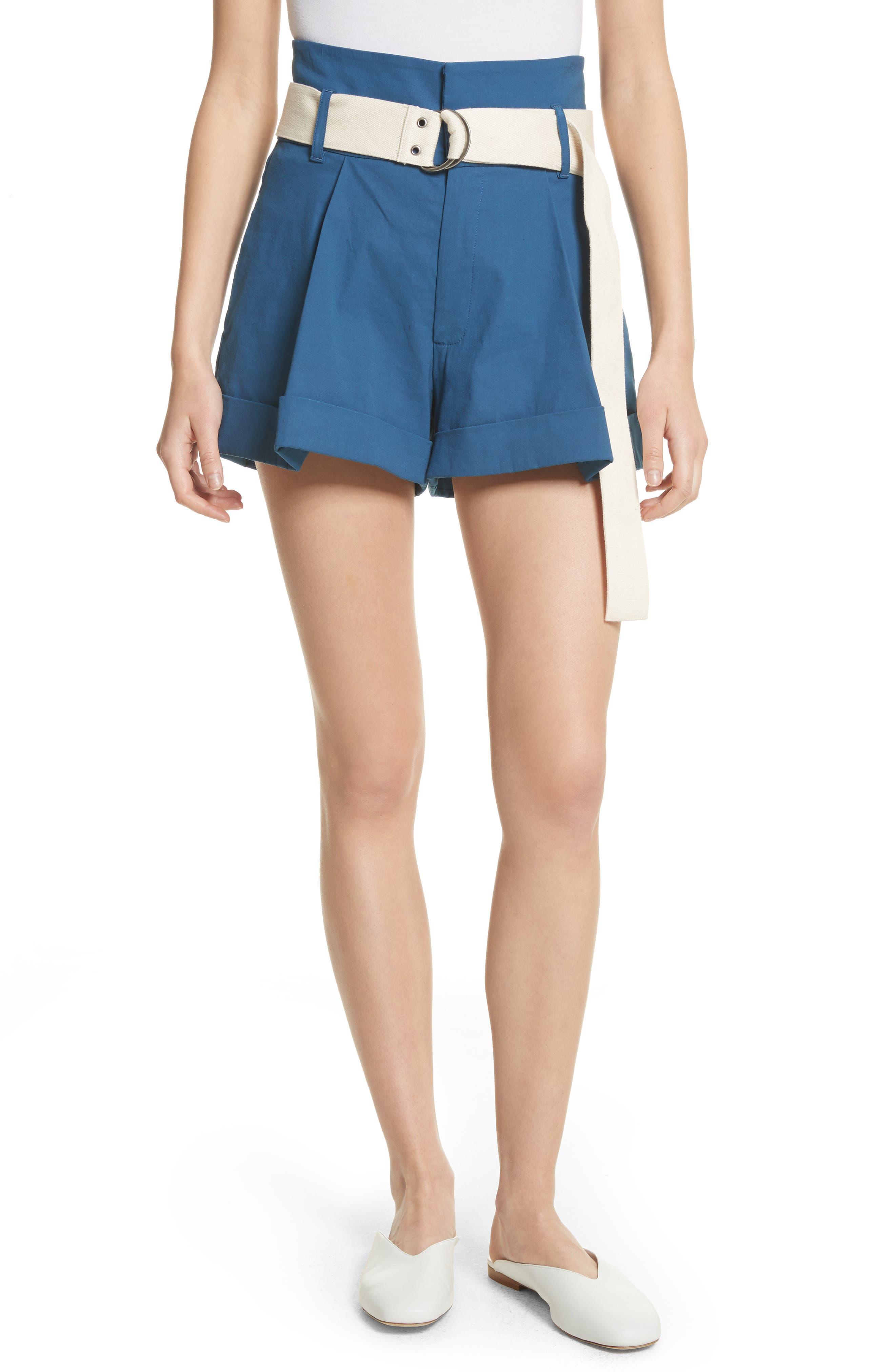 Poppy Belted Cotton & Linen Blend Shorts,                             Main thumbnail 1, color,                             Blue