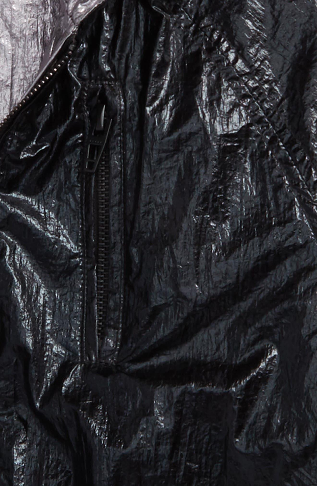 BLANCNYC Good Vibrations Reversible Hooded Jacket,                             Alternate thumbnail 3, color,                             Black/ Silver