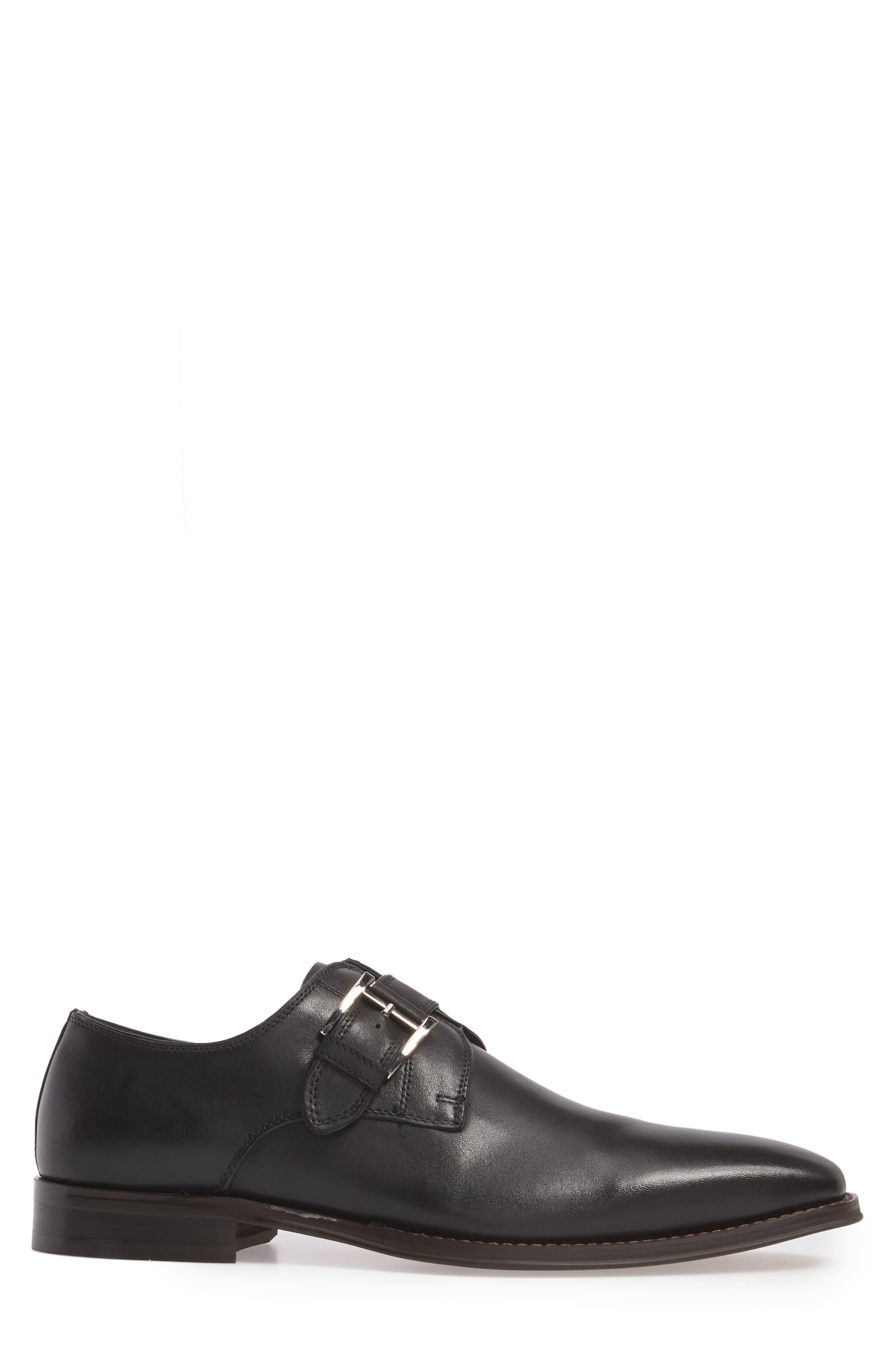 Miguel Monk Strap Shoe,                             Alternate thumbnail 3, color,                             Black Leather