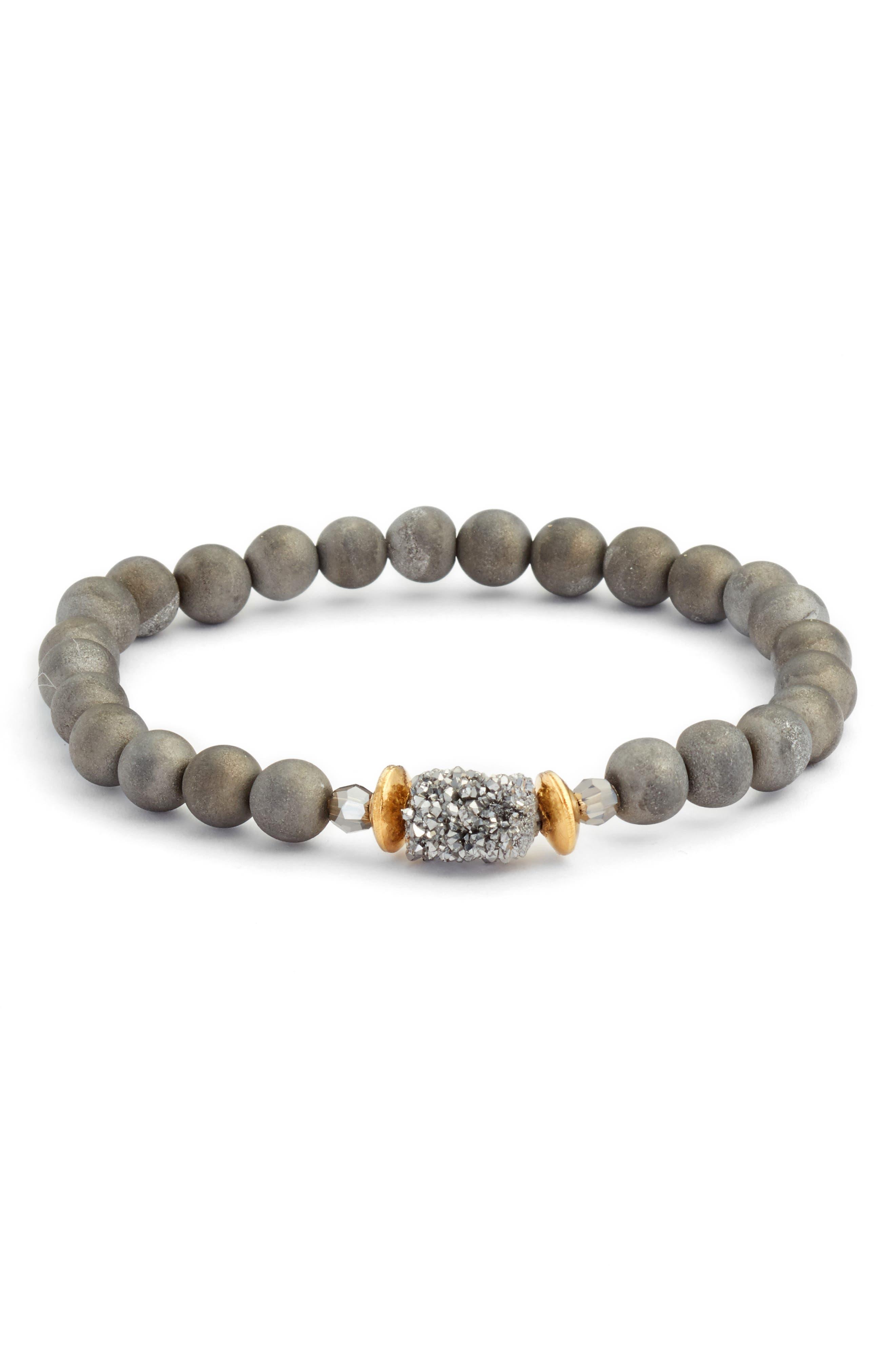 Agate Stretch Bracelet,                         Main,                         color, Silver Agate Mix