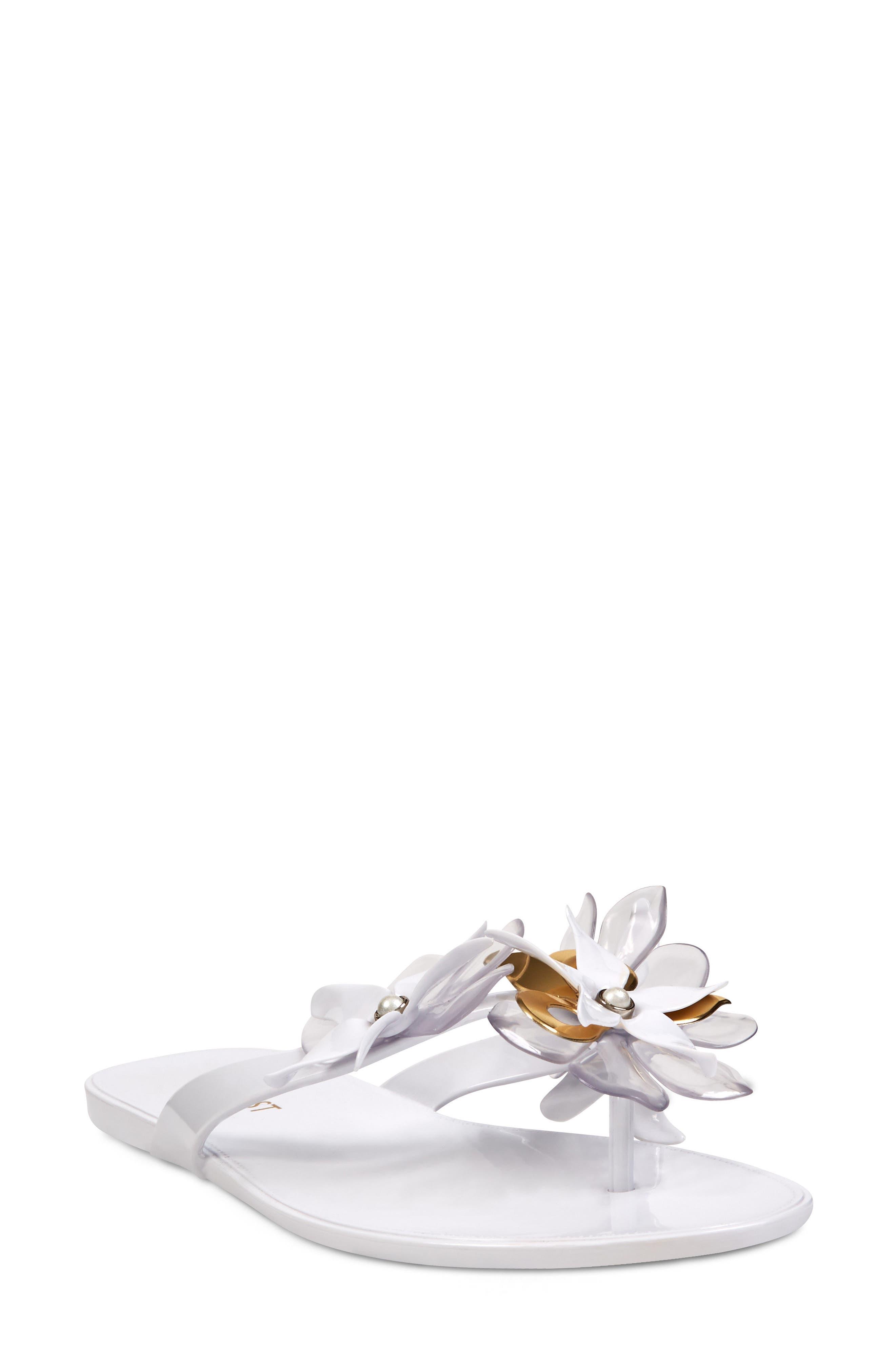 Mapilo Flower Embellished Jelly Flip Flop,                             Main thumbnail 1, color,                             White Multi
