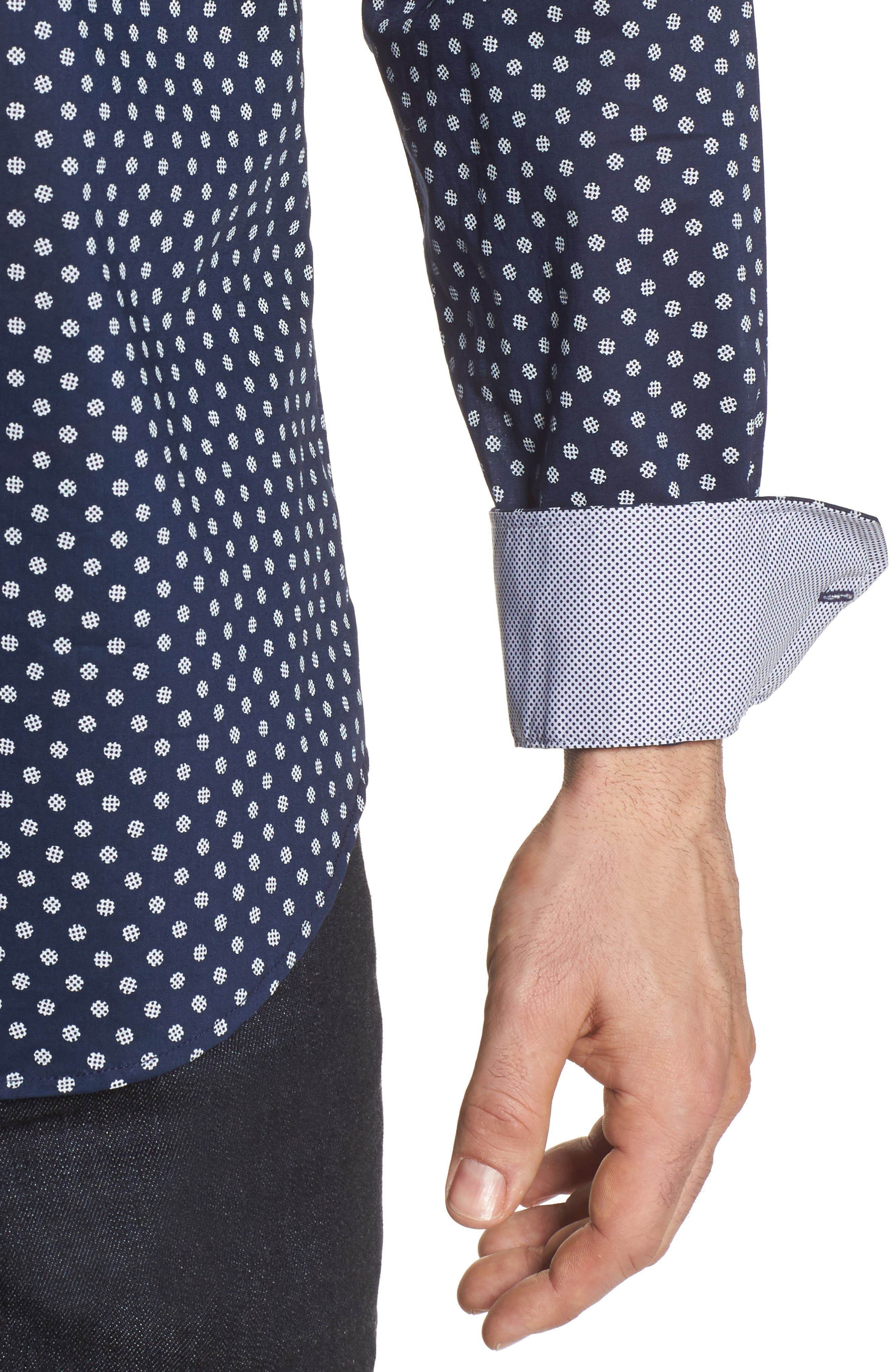 Alternate Image 4  - Bugatchi Shaped Fit Print Sport Shirt