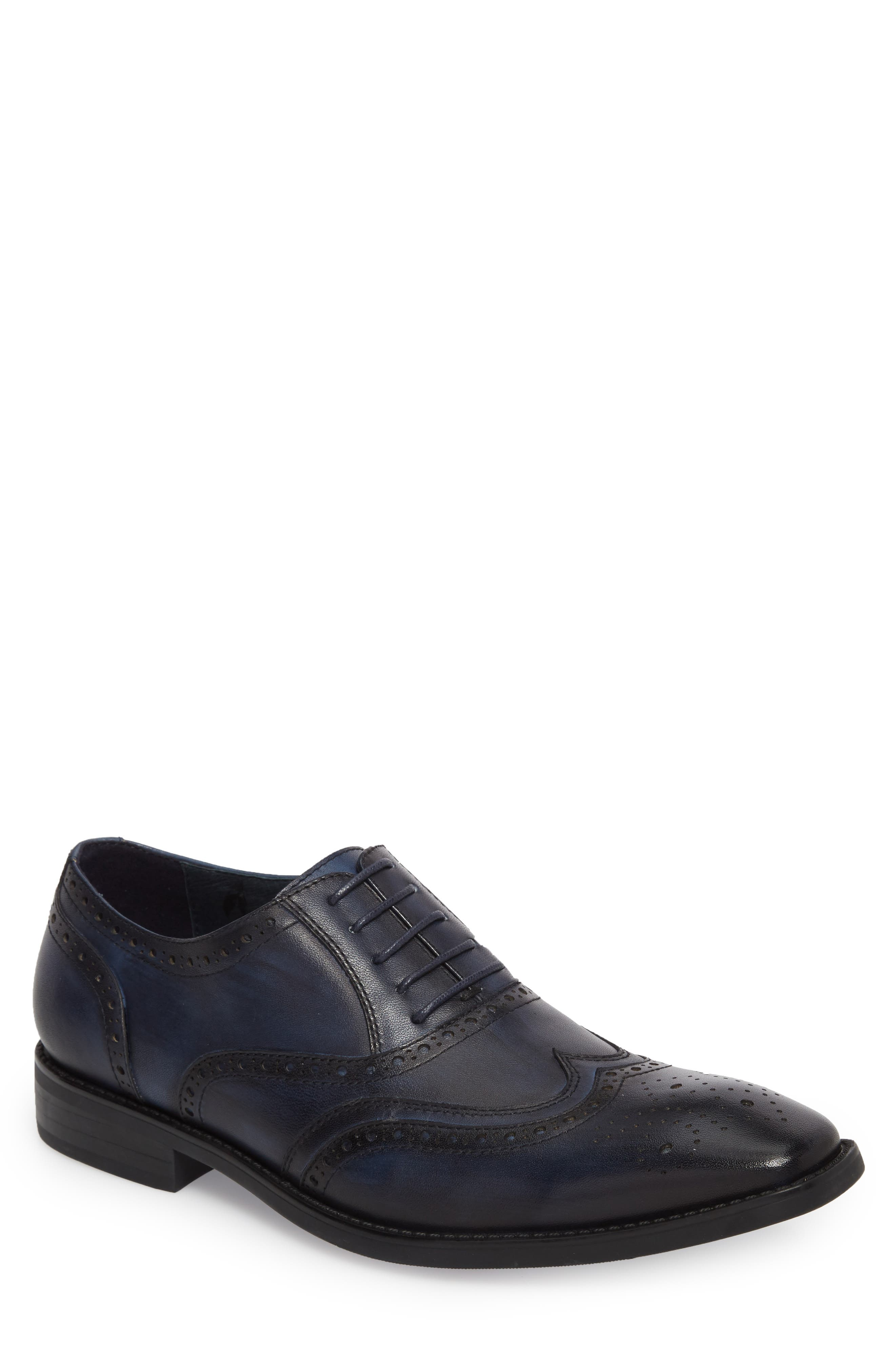 Lindsey Wingtip,                             Main thumbnail 1, color,                             Navy Leather